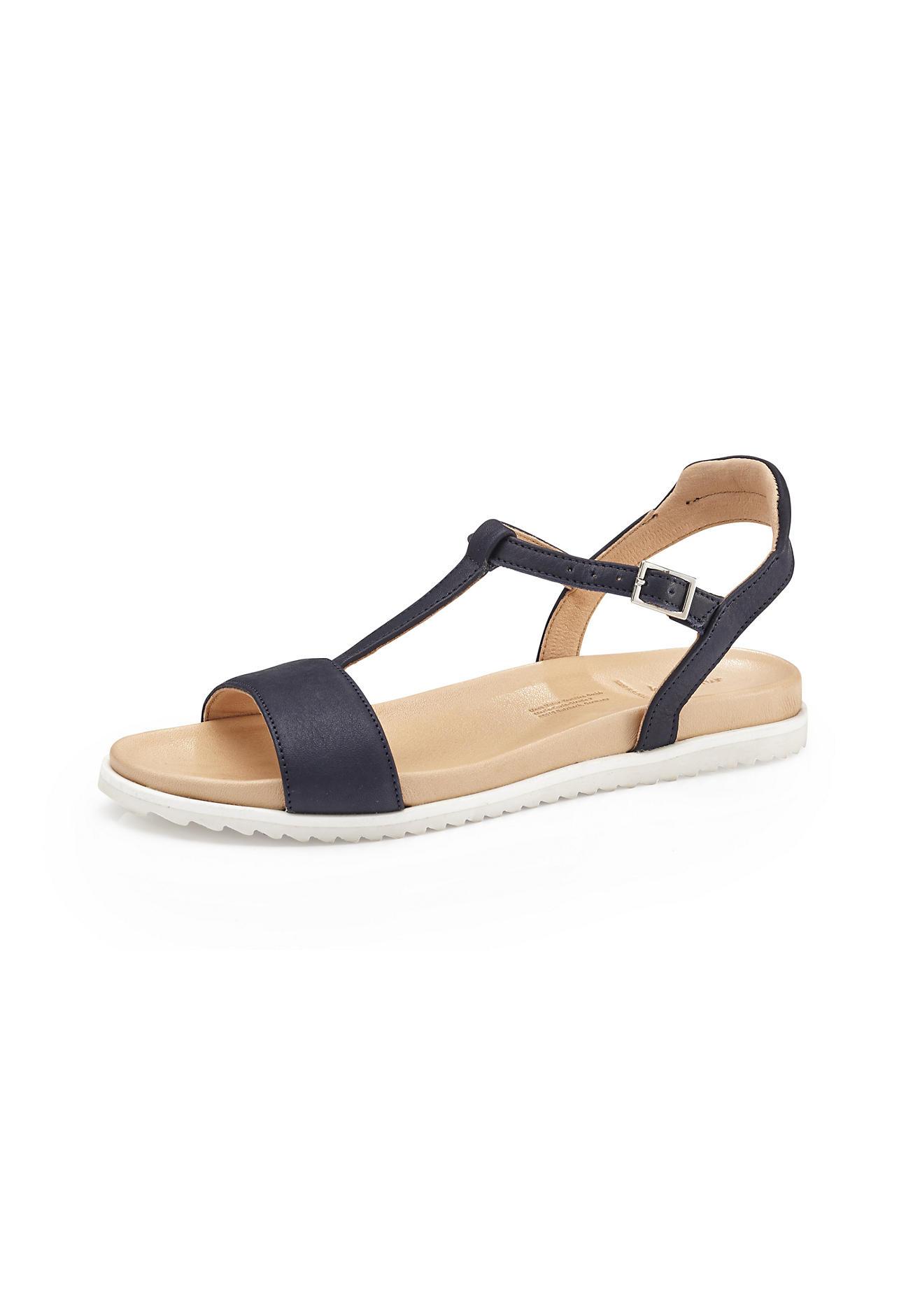 hessnatur Damen Damen Sandale aus Leder – blau – Größe 41