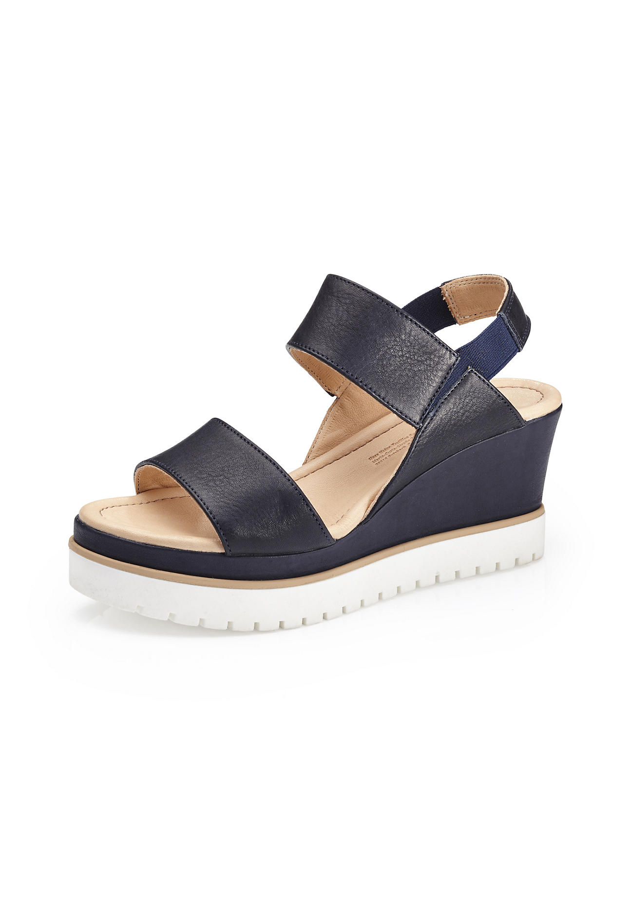 hessnatur Damen Damen Sandalette aus Leder – blau – Größe 41
