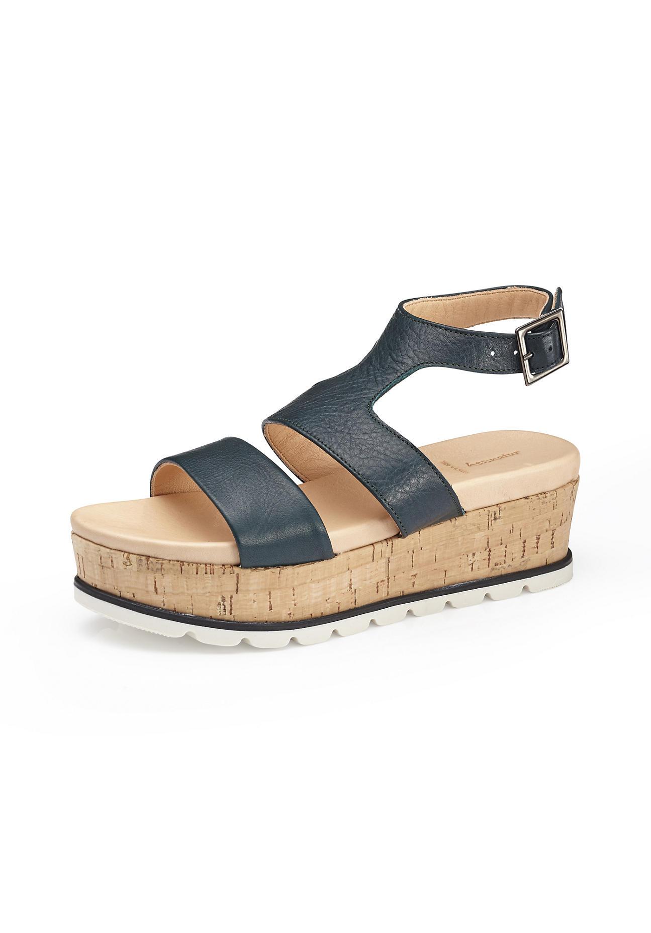 hessnatur Damen Damen Sandalette aus Leder – grün – Größe 36