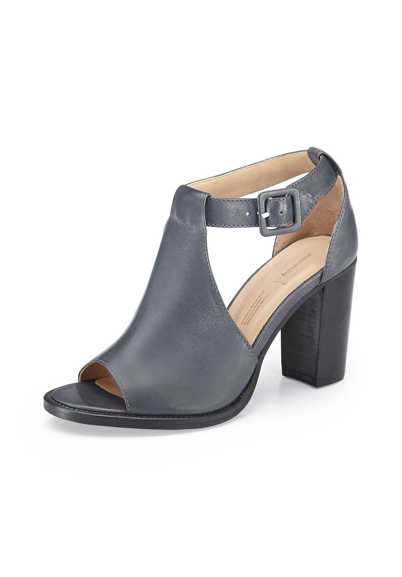 hessnatur Damen Damen Sandalette aus Leder – blau – Größe 37