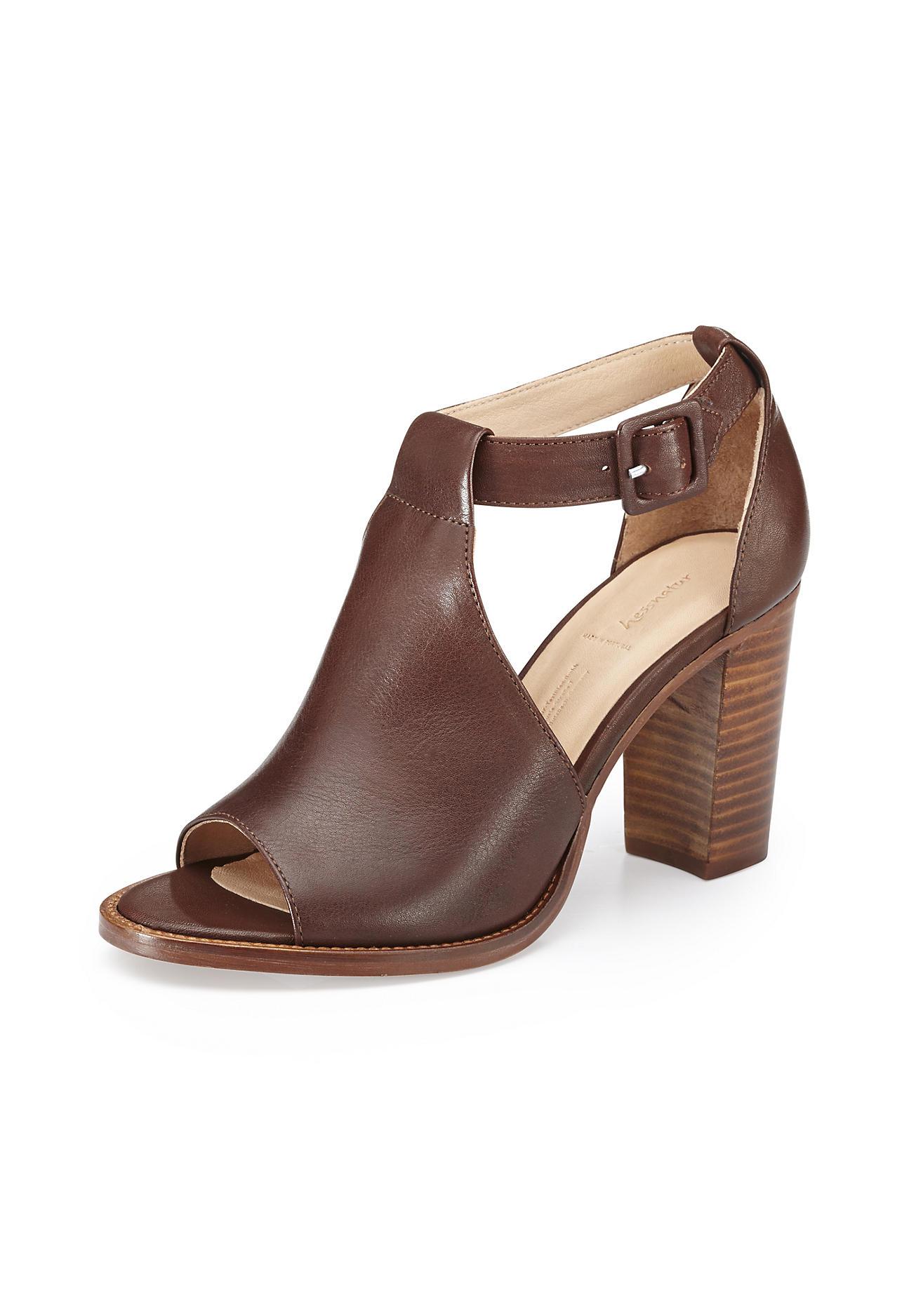 hessnatur Damen Damen Sandalette aus Leder – orange – Größe 39