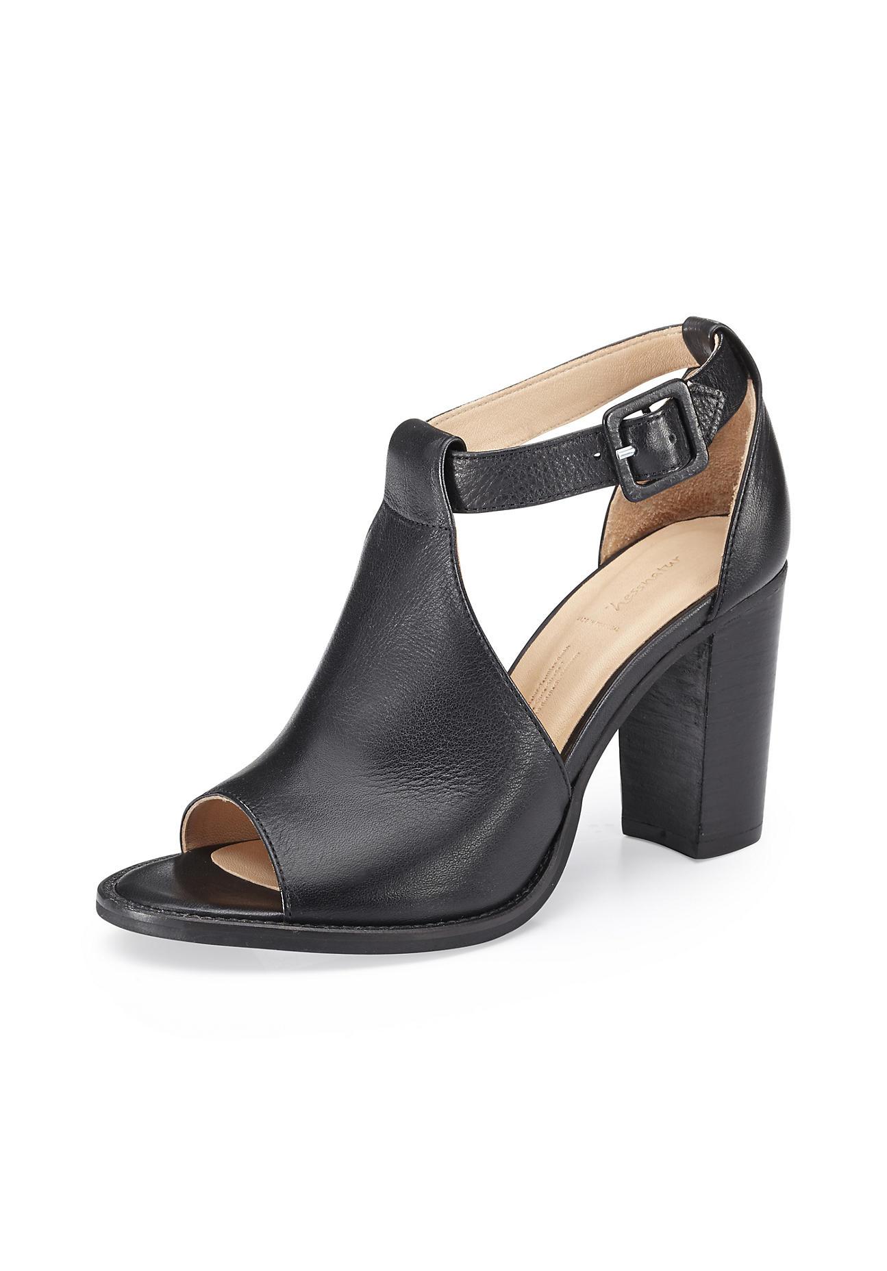 hessnatur Damen Damen Sandalette aus Leder – schwarz – Größe 39