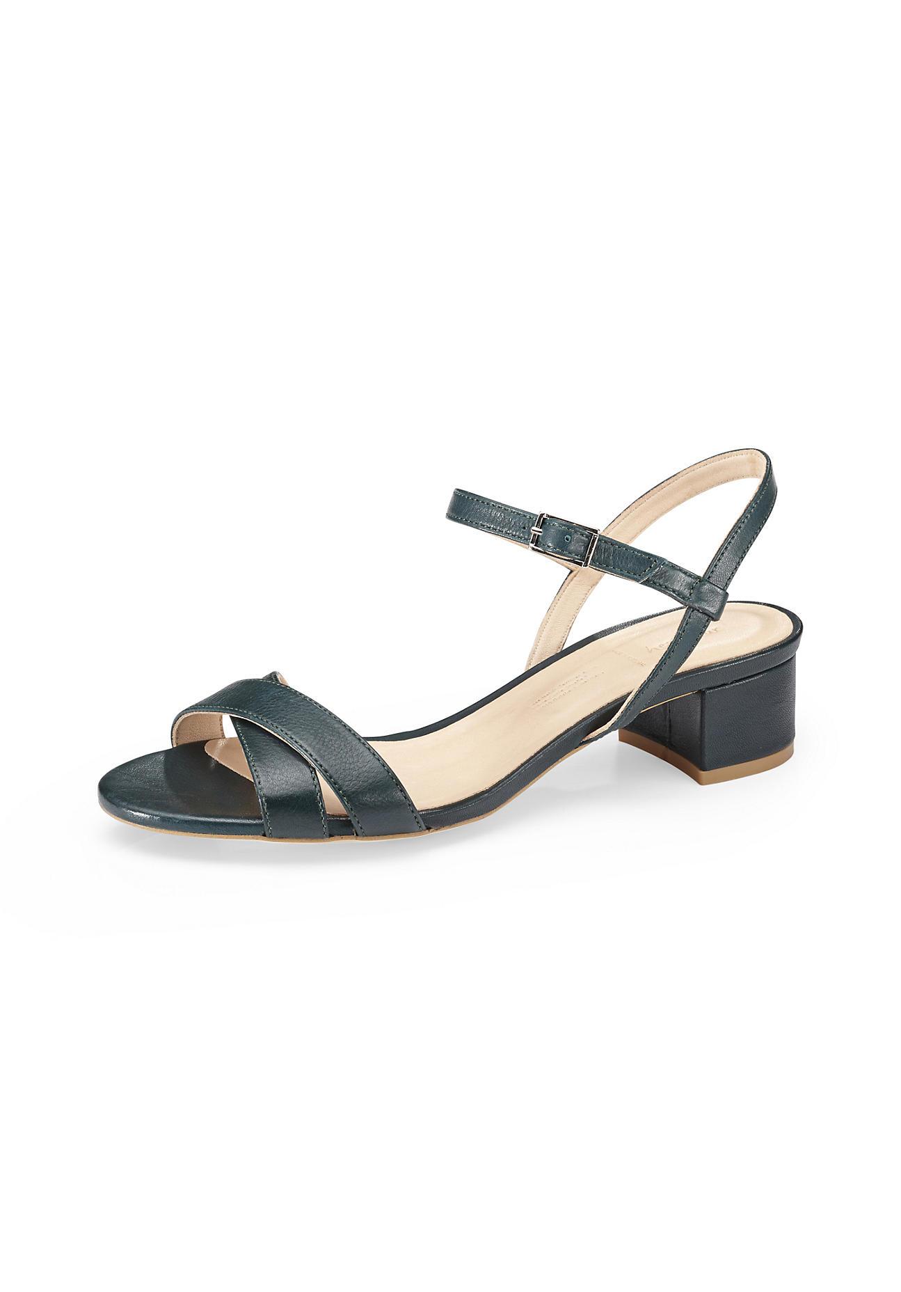 hessnatur Damen Damen Sandalette aus Leder – grün – Größe 39
