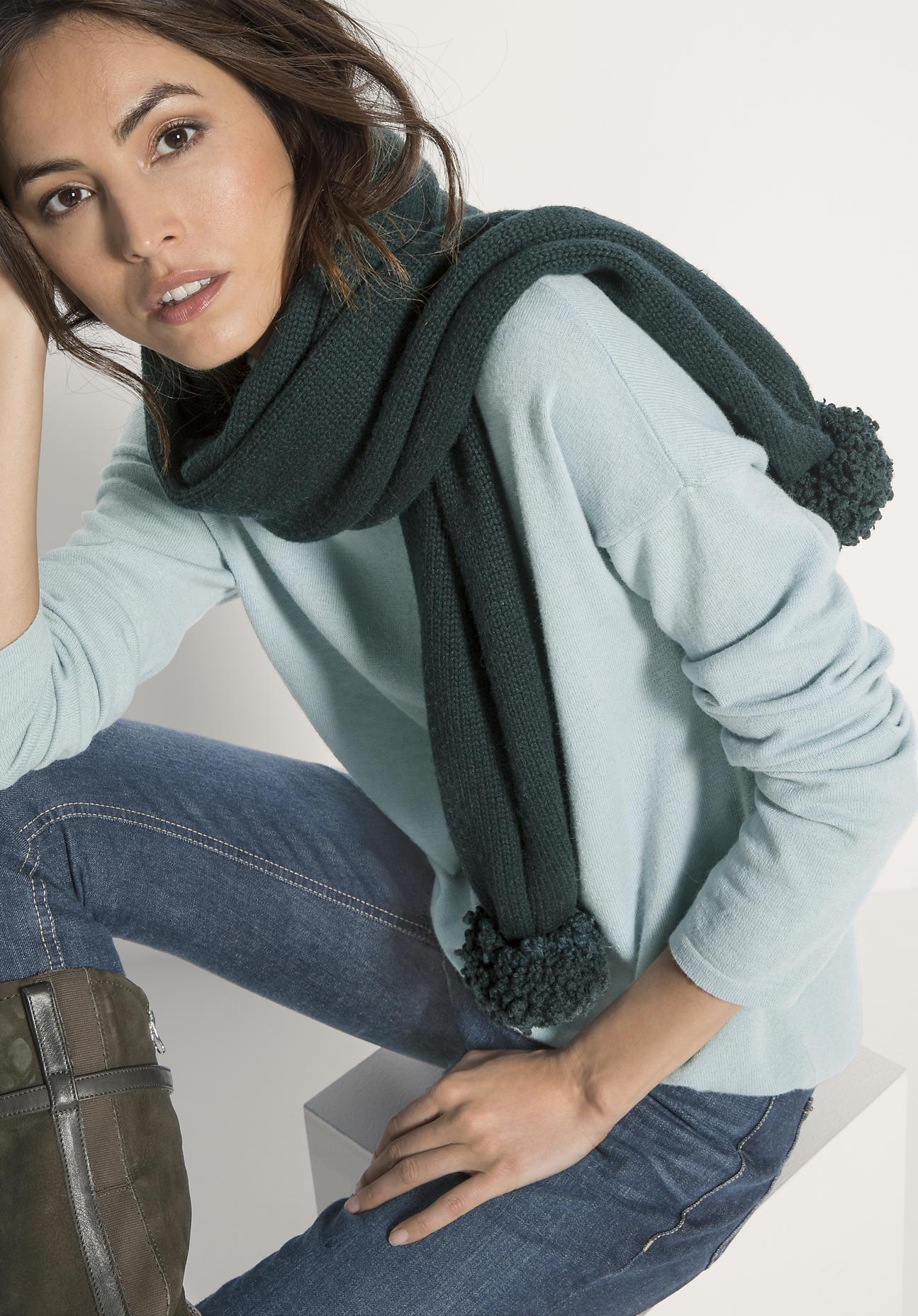 hessnatur Damen Schal aus Schurwolle – grün – G...