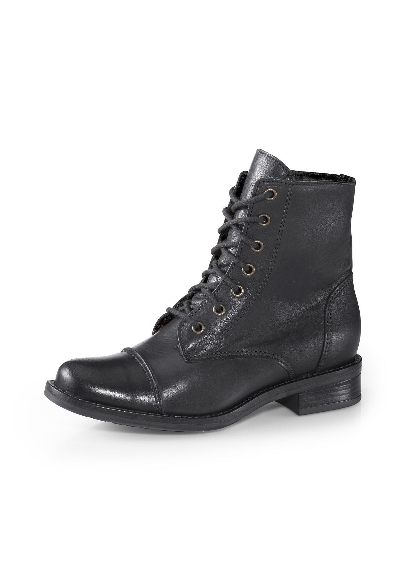 Stiefel - hessnatur Damen Damen Schnürstiefelette aus Leder – schwarz –  - Onlineshop Hessnatur