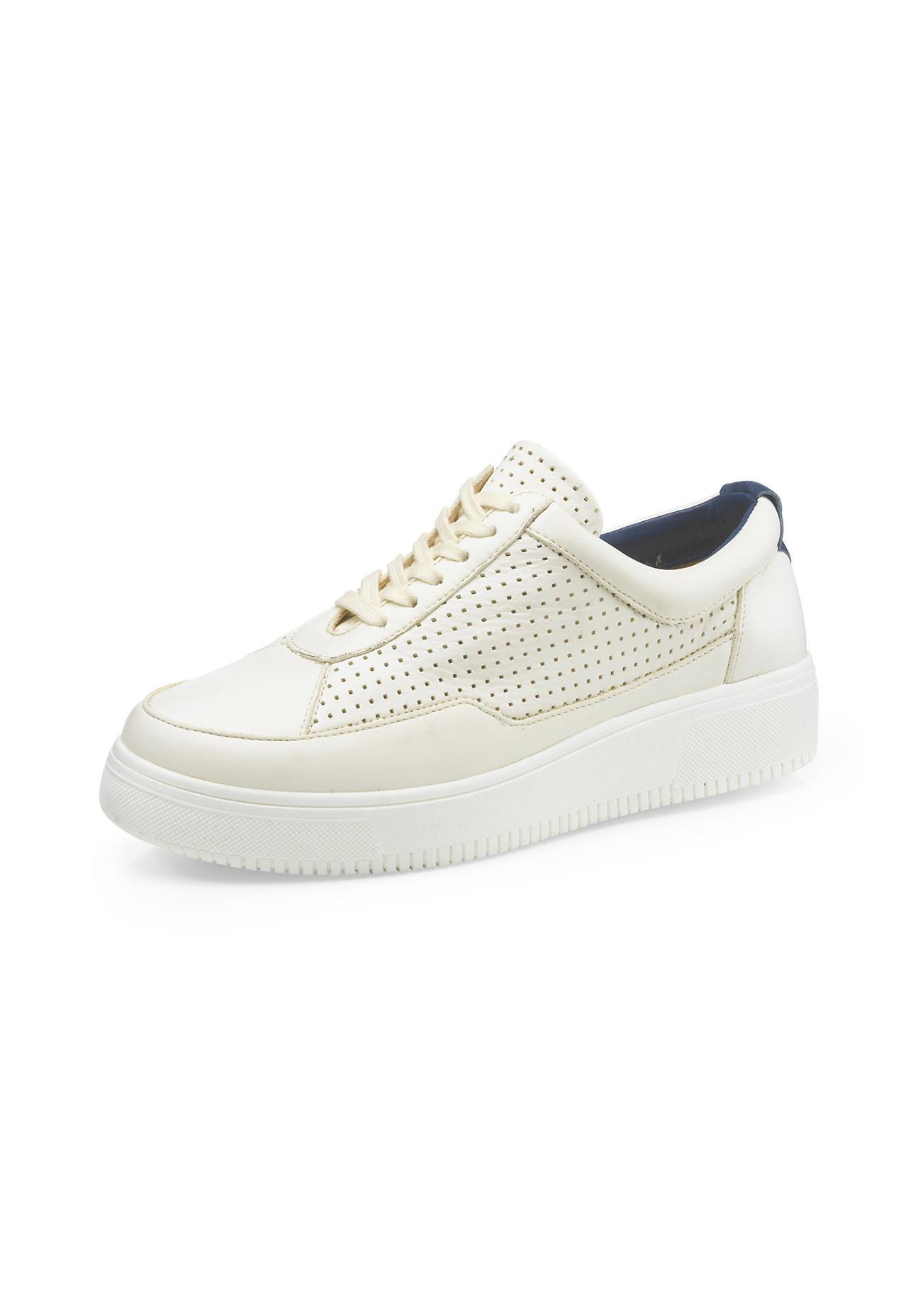 hessnatur Damen Damen Sneaker aus Leder – weiß – Größe 39