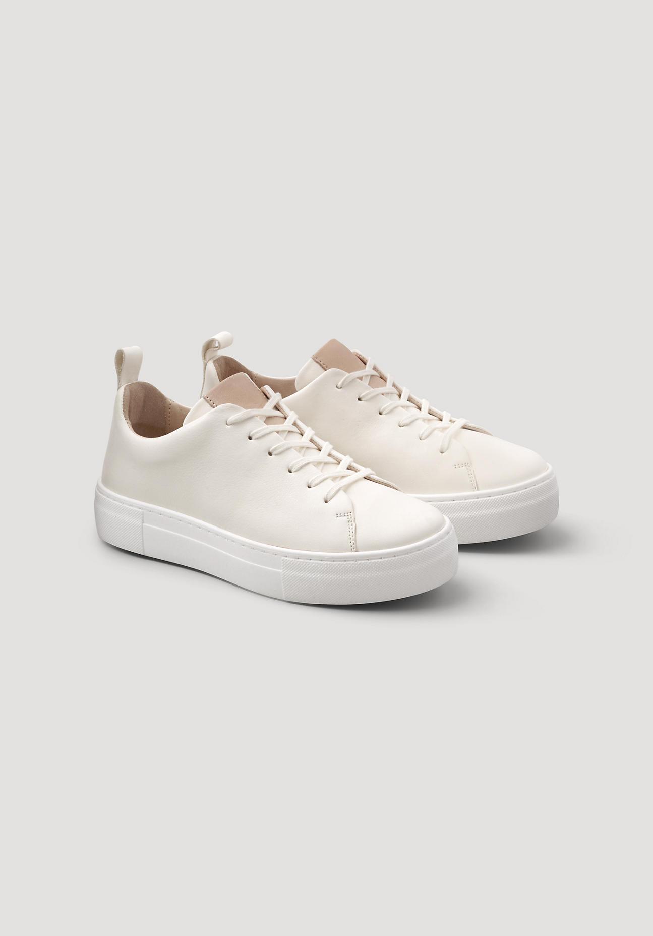 hessnatur Damen Damen Sneaker aus Leder – weiß – Größe 37