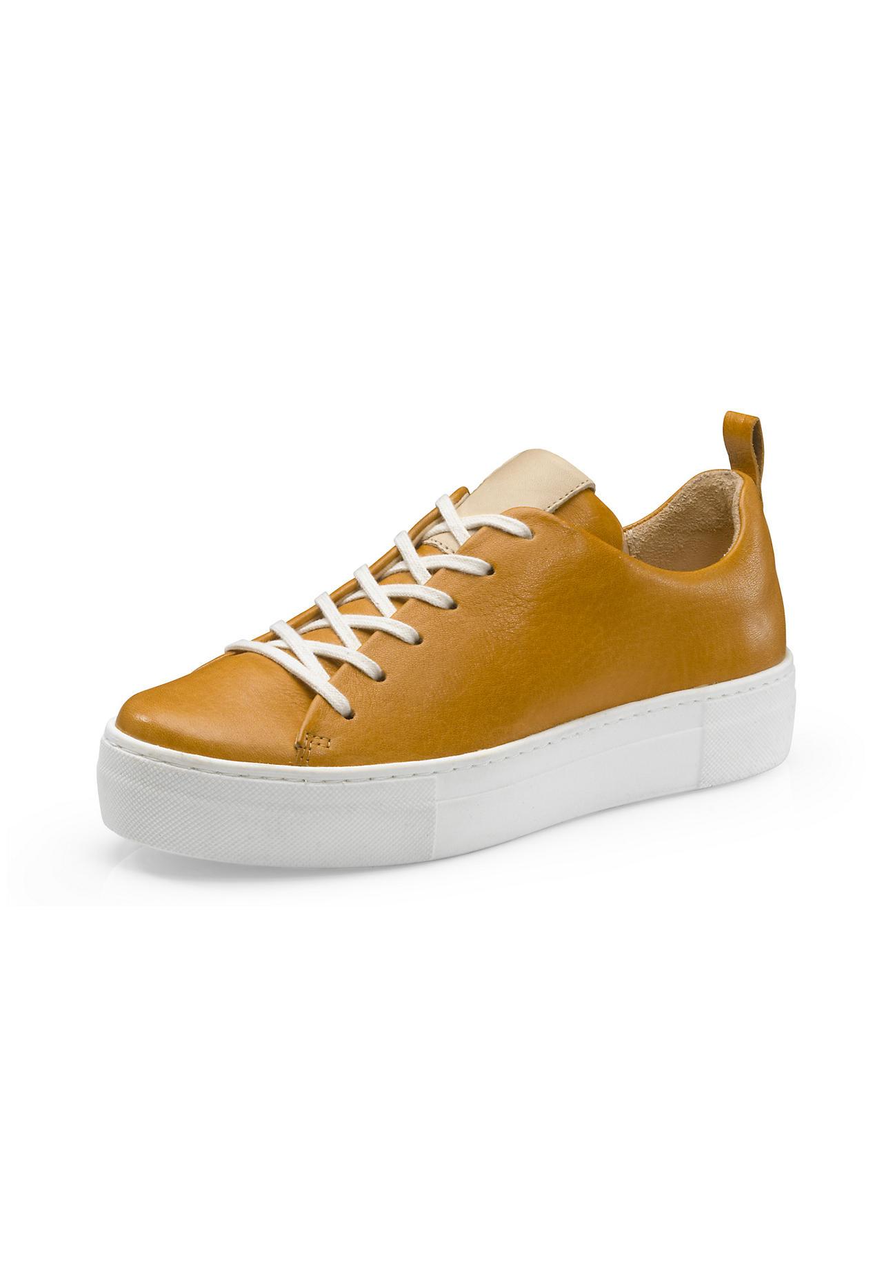 hessnatur Damen Damen Sneaker aus Leder – gelb – Größe 36