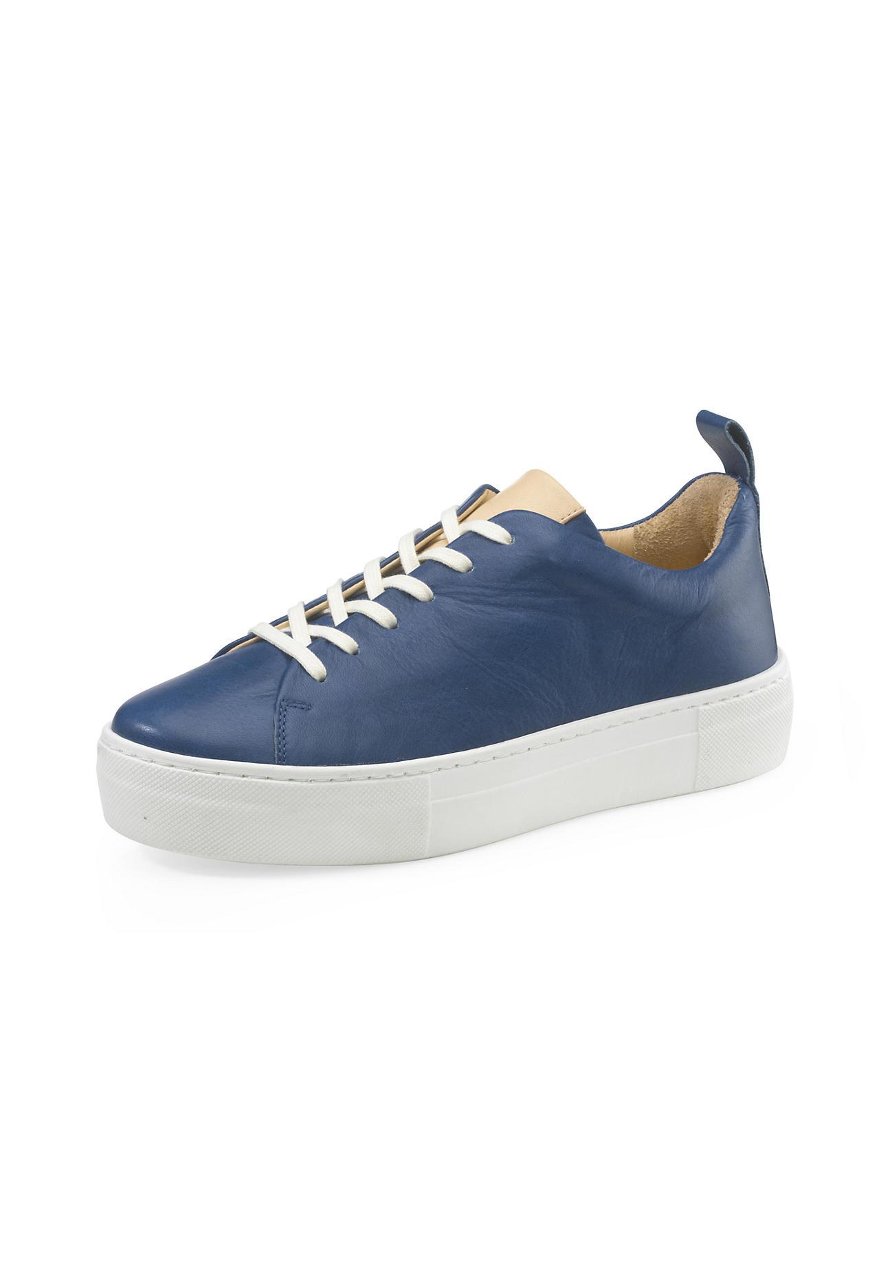 hessnatur Damen Damen Sneaker aus Leder – blau – Größe 36