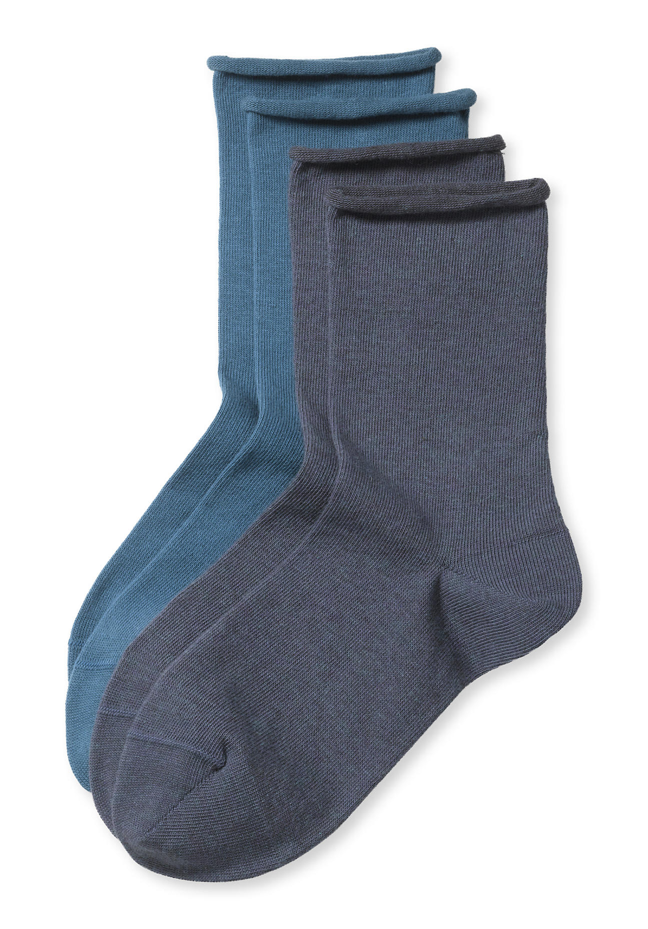 Socken für Frauen - hessnatur Damen Socke im 2er Pack aus Bio Baumwolle – blau –  - Onlineshop Hessnatur