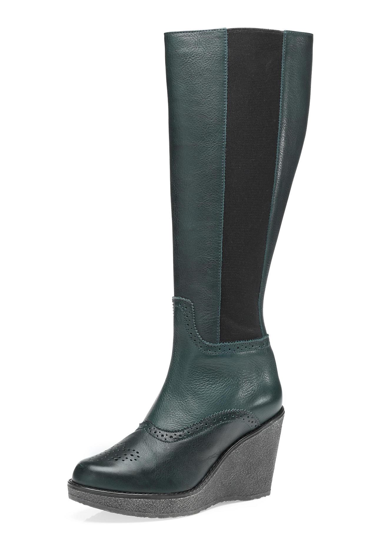 Stiefel - hessnatur Damen Damen Stiefel aus Leder – grün –  - Onlineshop Hessnatur