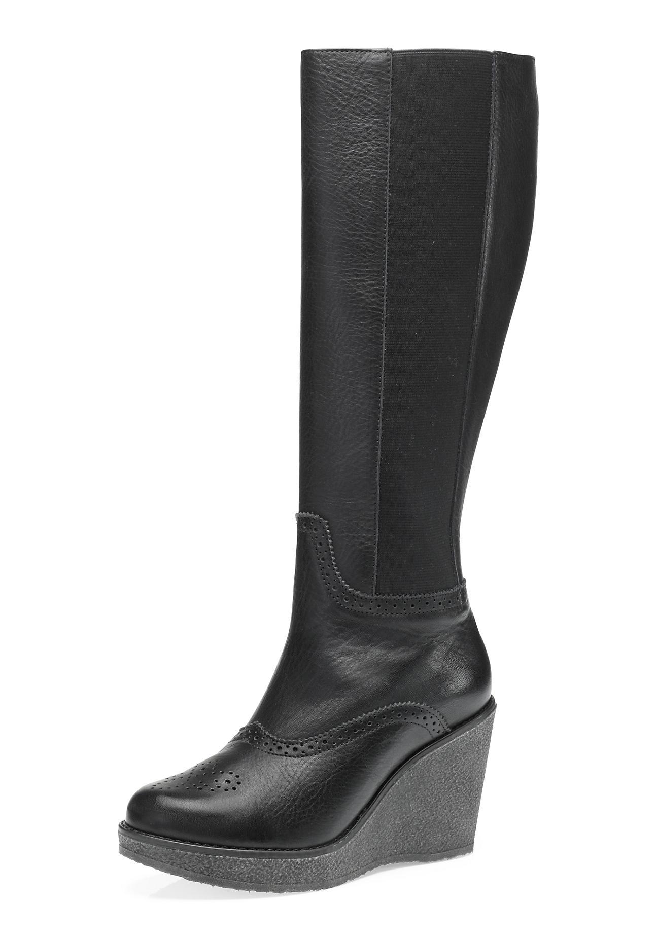 hessnatur Damen Damen Stiefel aus Leder – schwarz – Größe 41