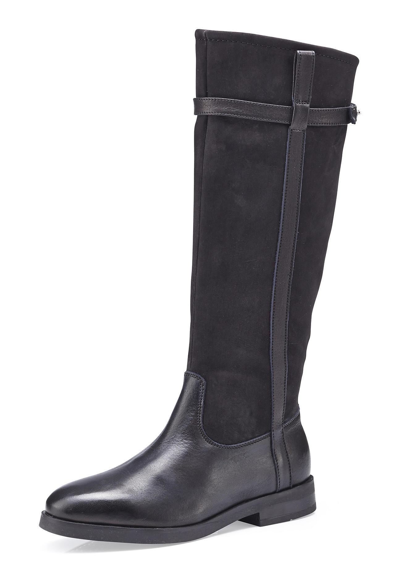 Stiefel für Frauen - hessnatur Damen Damen Stiefel aus Leder – schwarz –  - Onlineshop Hessnatur