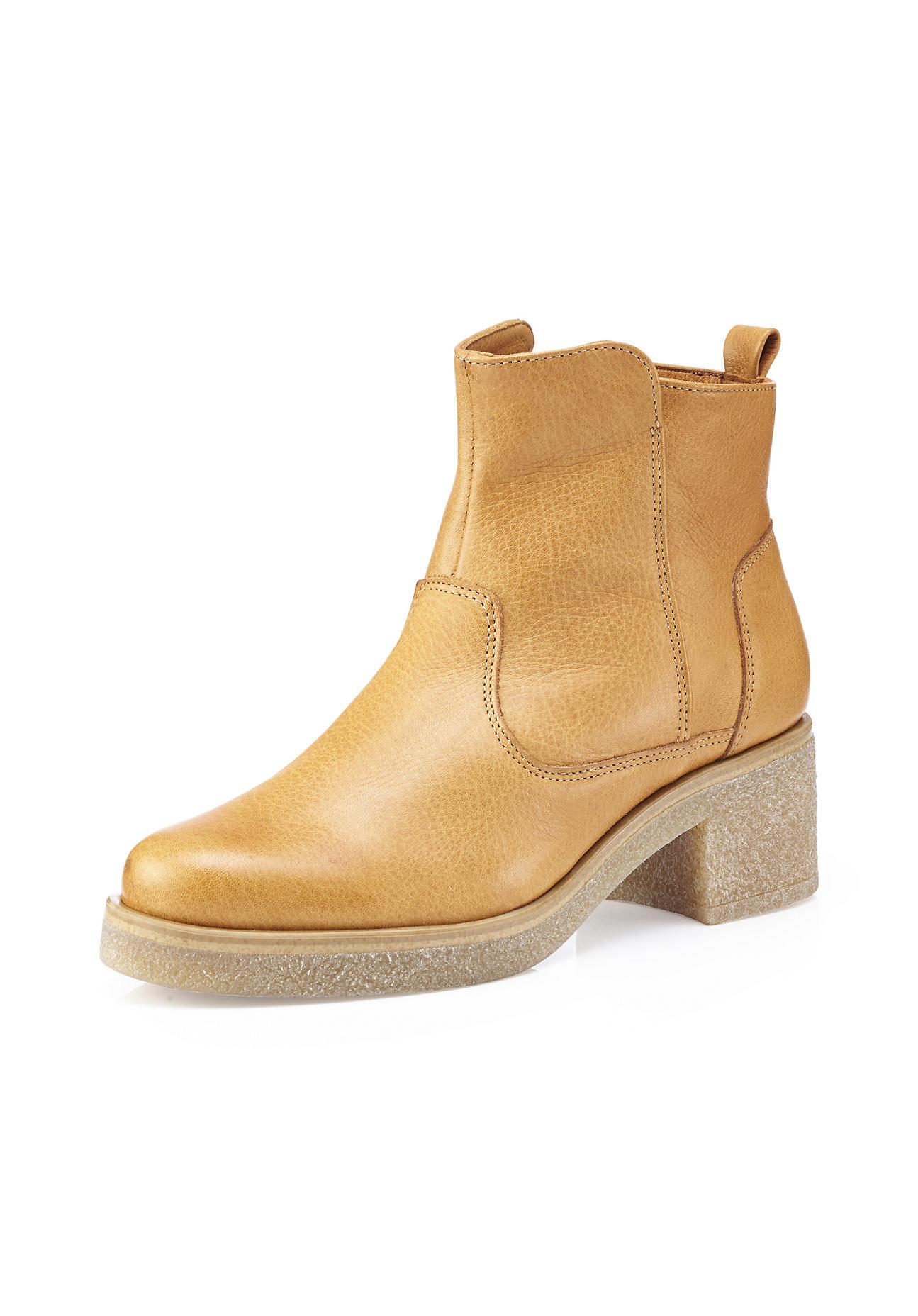 hessnatur Damen Damen Stiefelette aus Leder – gelb – Größe 41