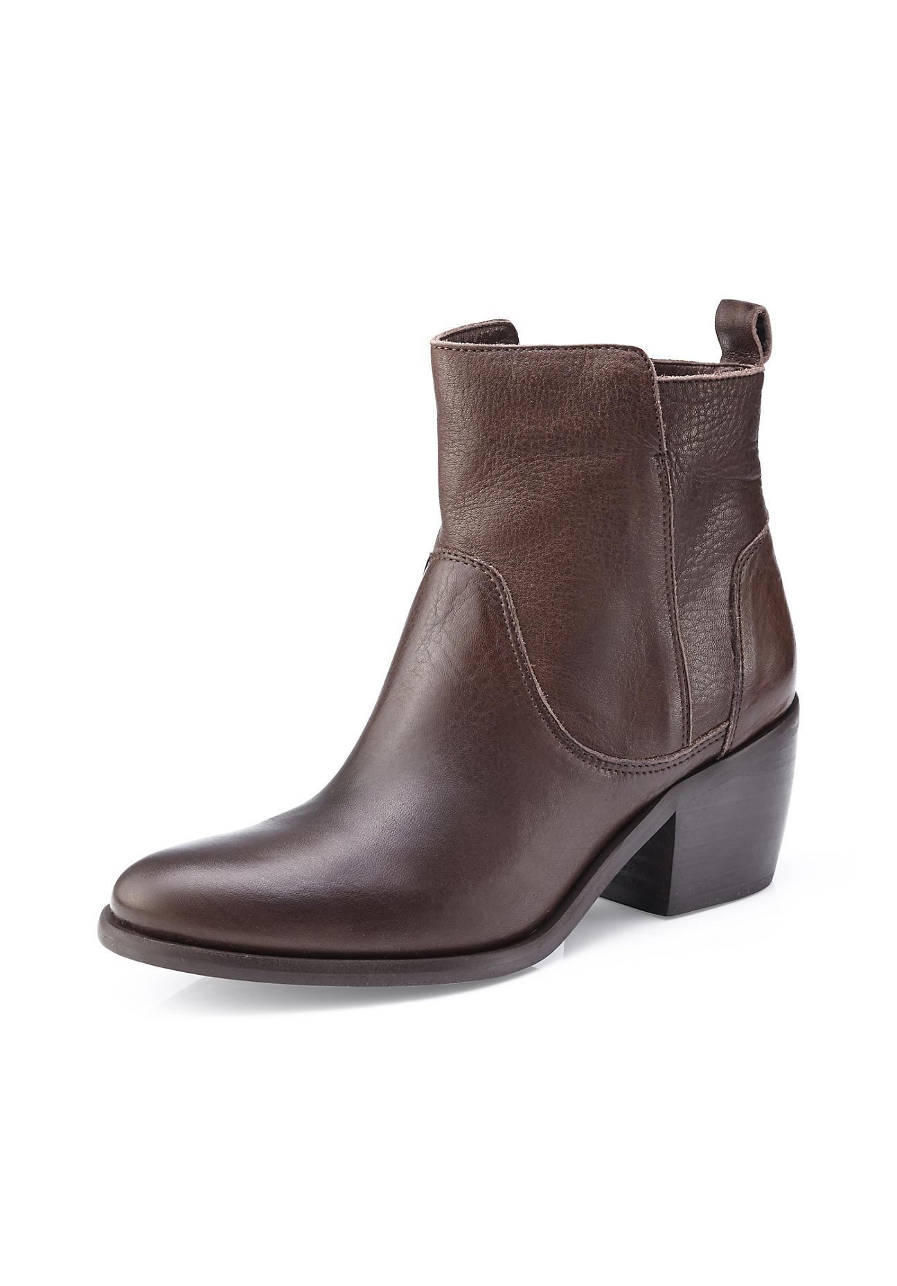 Stiefel für Frauen - hessnatur Damen Damen Stiefelette aus Leder – braun –  - Onlineshop Hessnatur