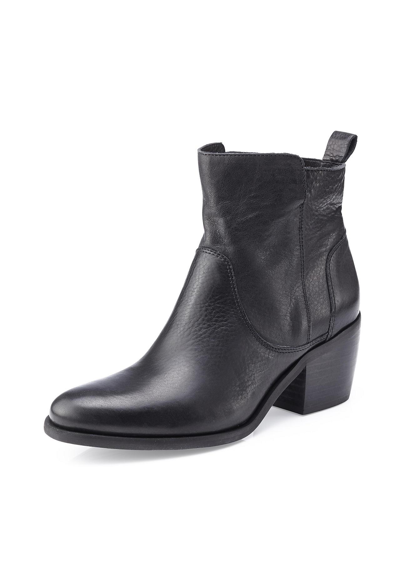 hessnatur Damen Damen Stiefelette aus Leder – schwarz – Größe 36