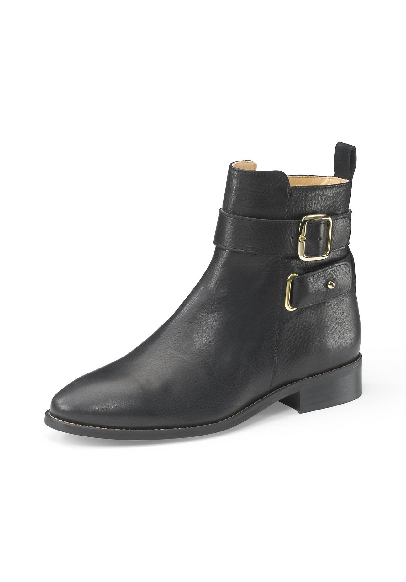 Stiefel - hessnatur Damen Damen Stiefelette aus Leder – schwarz –  - Onlineshop Hessnatur