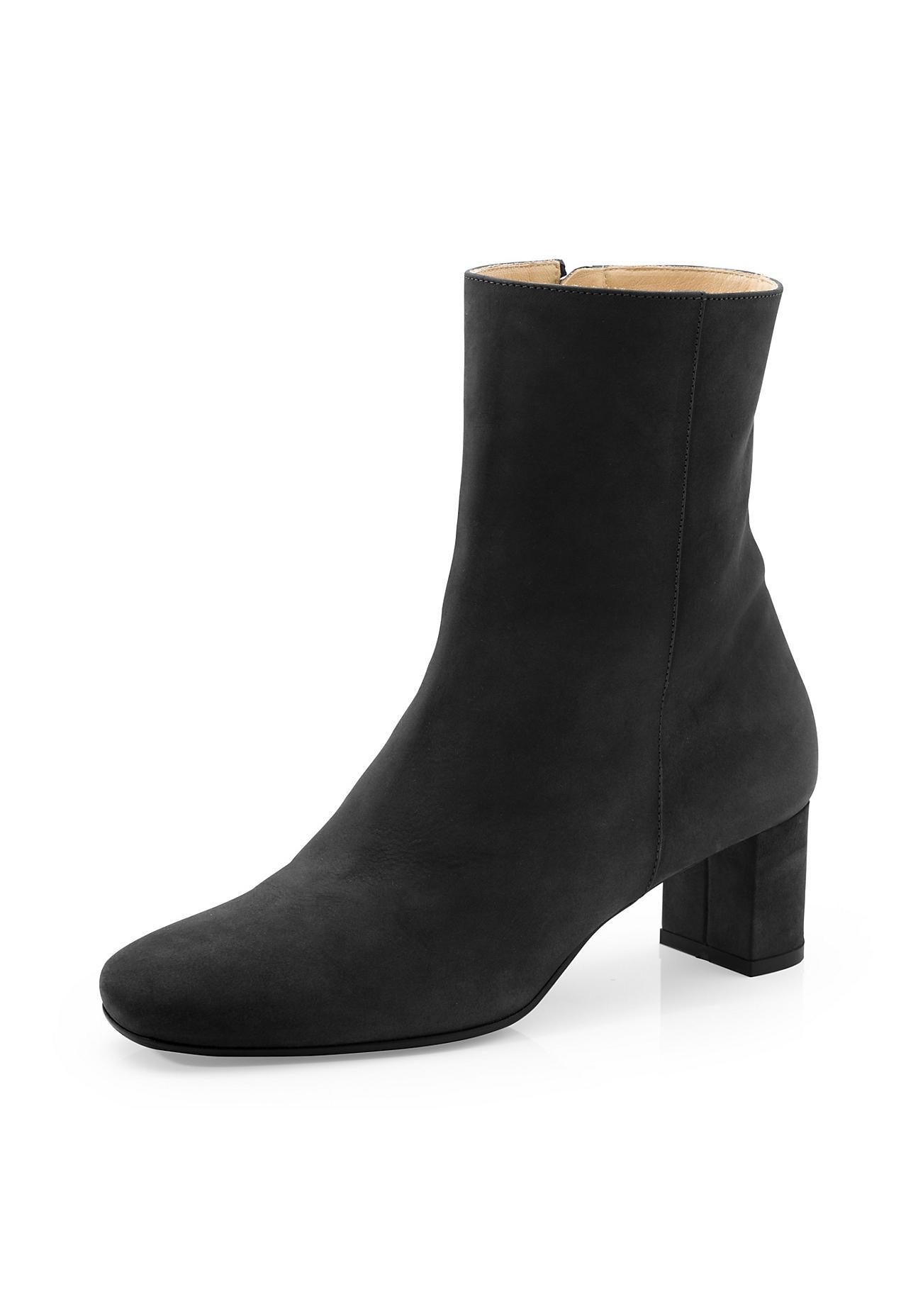 Stiefel für Frauen - hessnatur Damen Damen Stiefelette aus Nubukleder – schwarz –  - Onlineshop Hessnatur