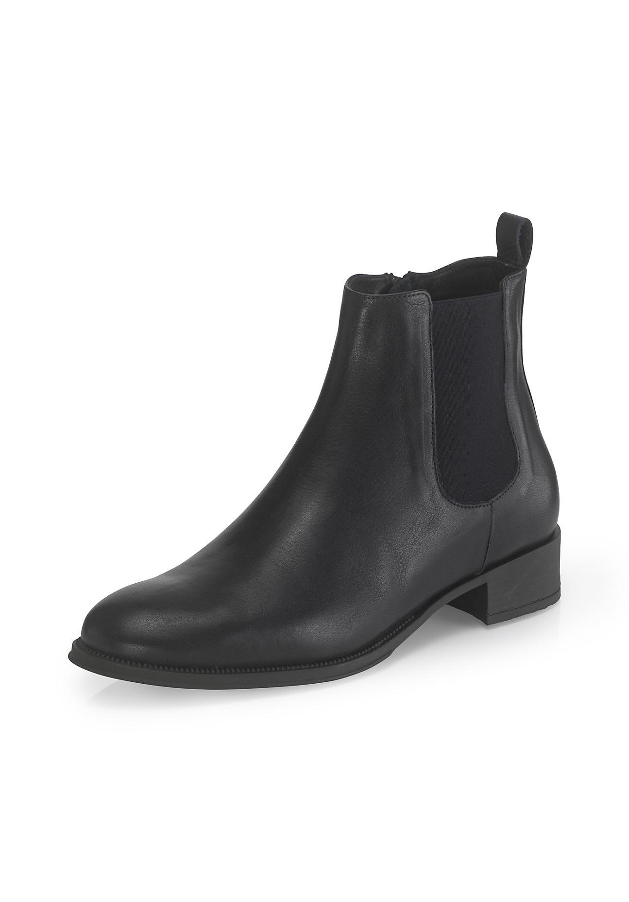 Stiefel - hessnatur Damen Damen Stiefelette aus chromfrei gegerbtem Leder – schwarz –  - Onlineshop Hessnatur