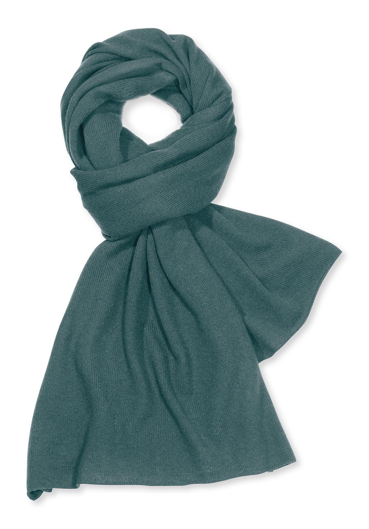 Schals für Frauen - hessnatur Damen Damen Strickschal aus Schurwolle mit Kaschmir – grün –  - Onlineshop Hessnatur