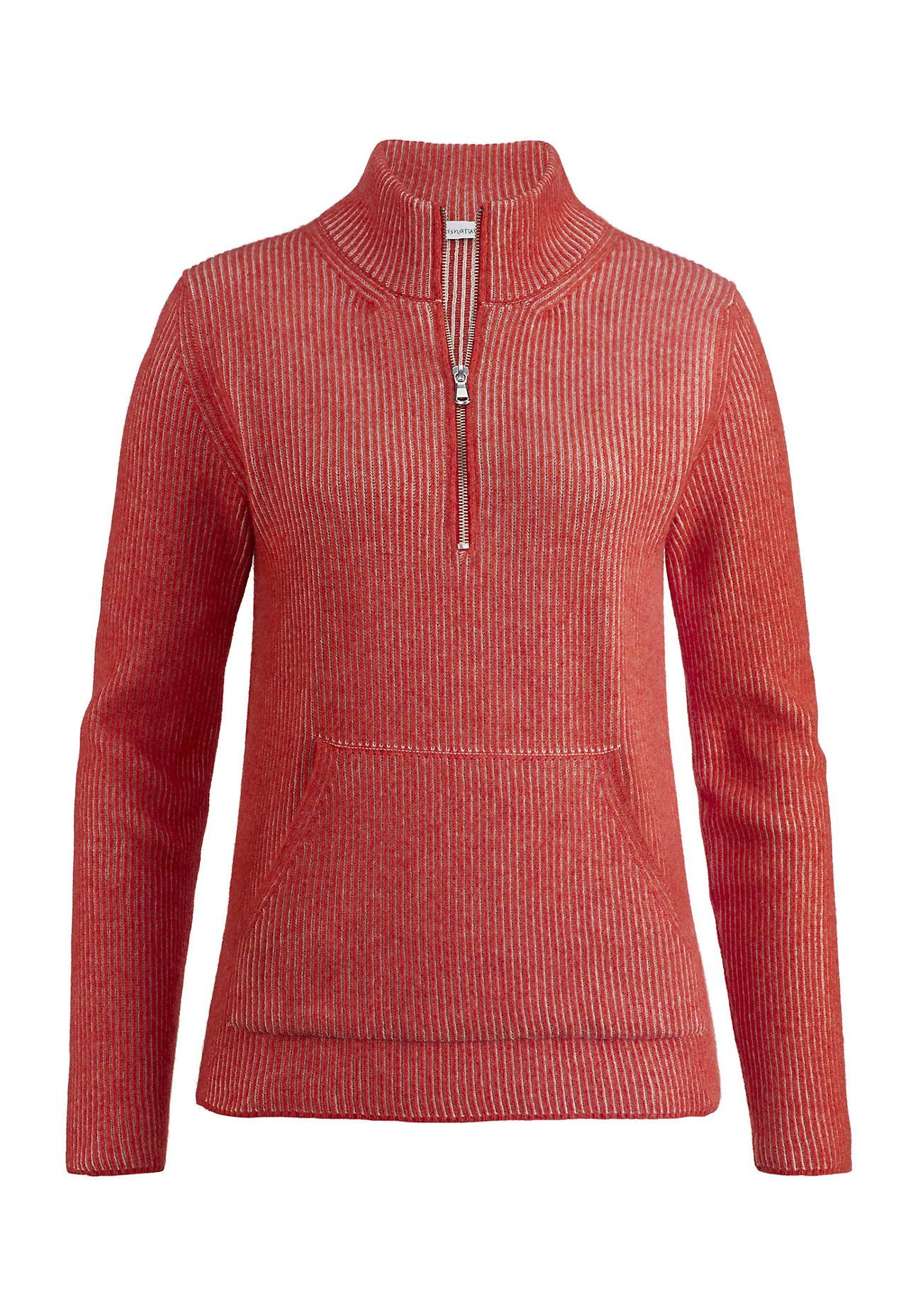 hessnatur Outdoor Damen Troyer aus Bio-Baumwolle und Lambswool – rot – Größe 36   Bekleidung > Pullover > Troyer   Feuerrot   Baumwolle   hessnatur