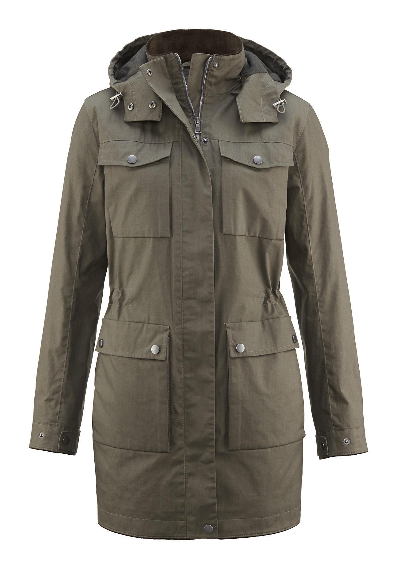 hessnatur Outdoor Damen Wachsjacke aus Bio-Baumwolle – grün – Größe 48
