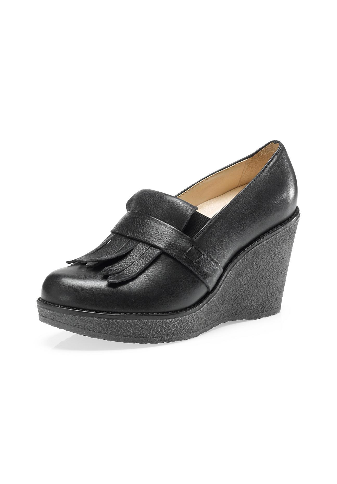 hessnatur Damen Damen Wedge-Slipper aus Leder – schwarz – Größe 41