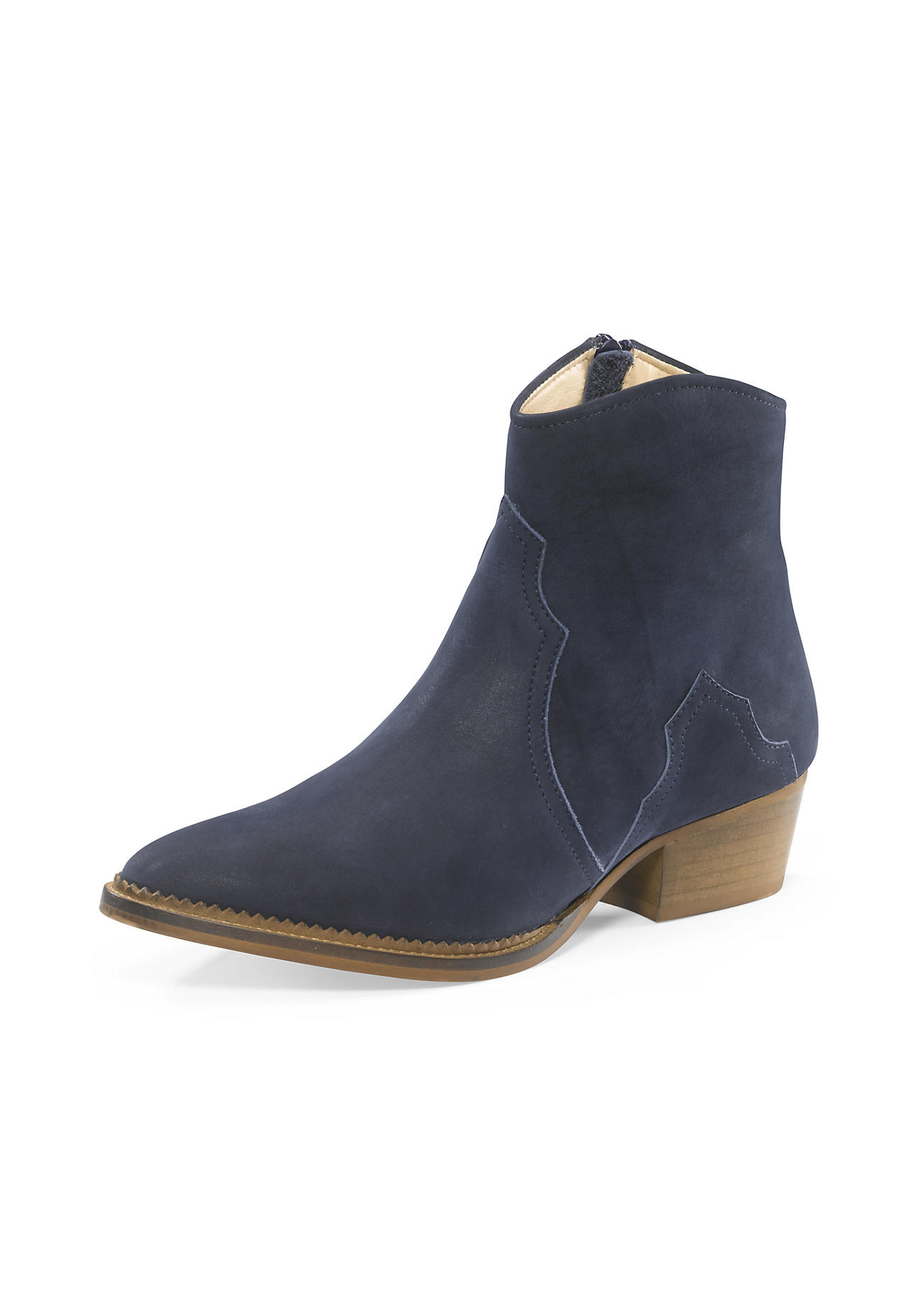 Stiefel - hessnatur Damen Damen Western Stiefelette aus Leder – blau –  - Onlineshop Hessnatur