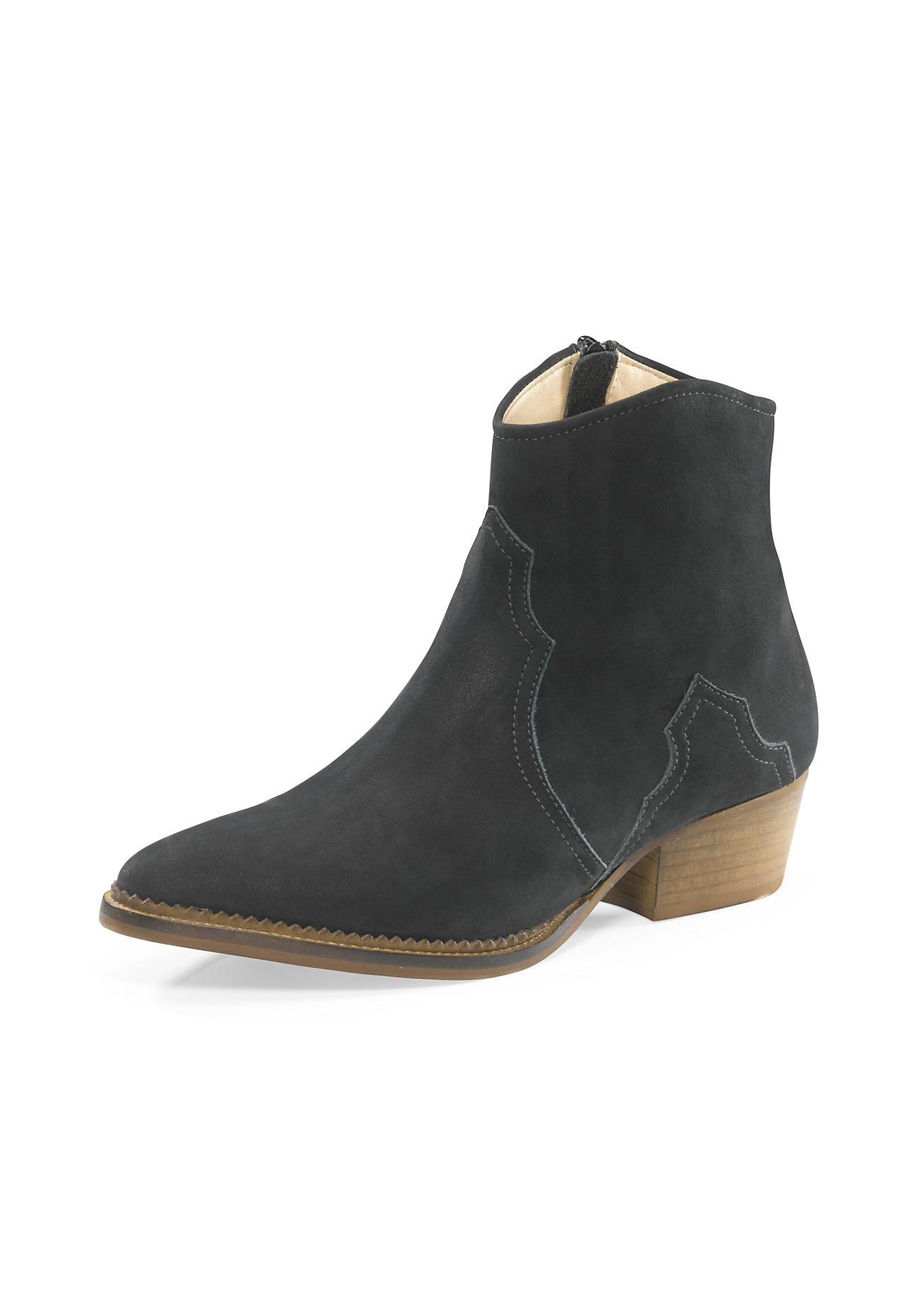Stiefel - hessnatur Damen Damen Western Stiefelette aus Leder – grün –  - Onlineshop Hessnatur