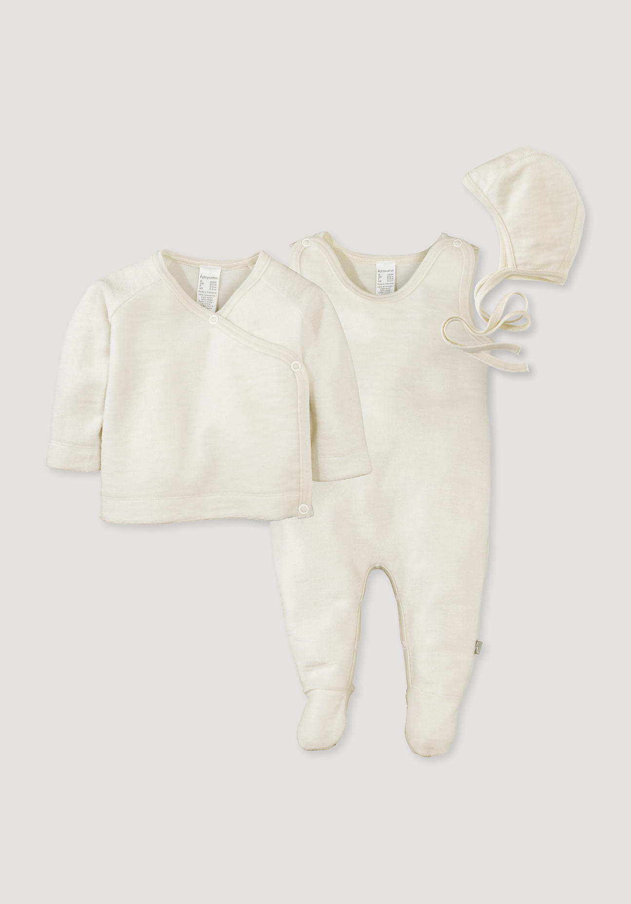 Image of hessnatur Baby Erstlingspaket Wollfrottee aus Schurwolle – naturfarben – Größe 50/56