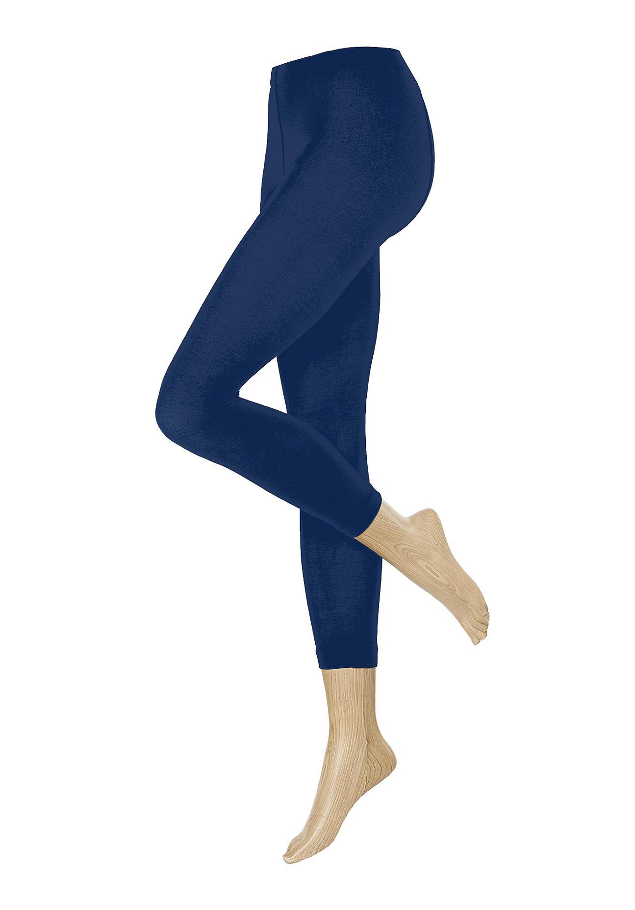 hessnatur Feinstrumpf Leggings aus Bio Baumwolle – blau – Größe 36 38