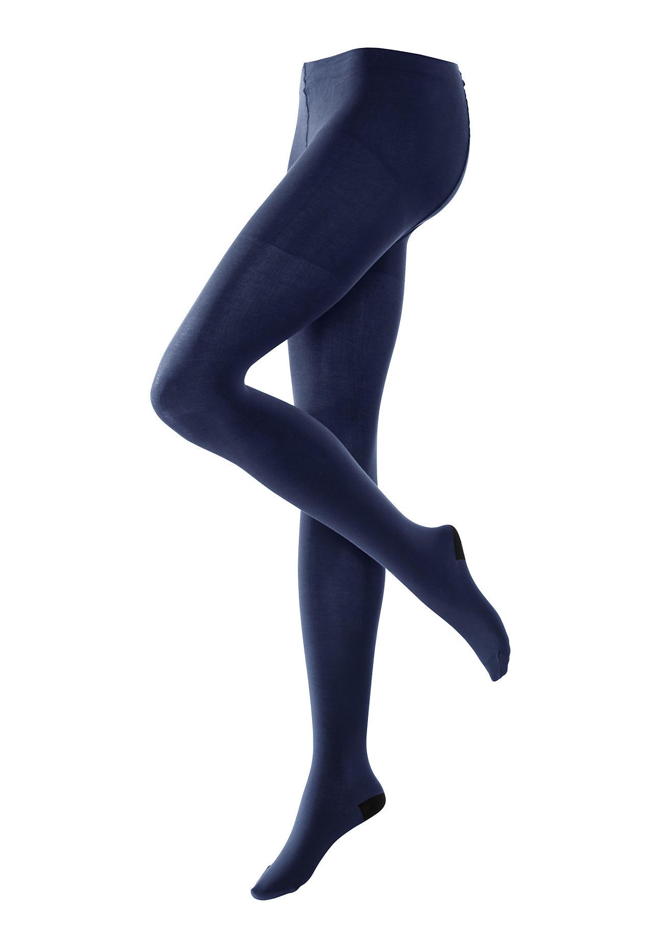 hessnatur Feinstrumpfhose aus Bio Baumwolle – blau – Größe 36 38