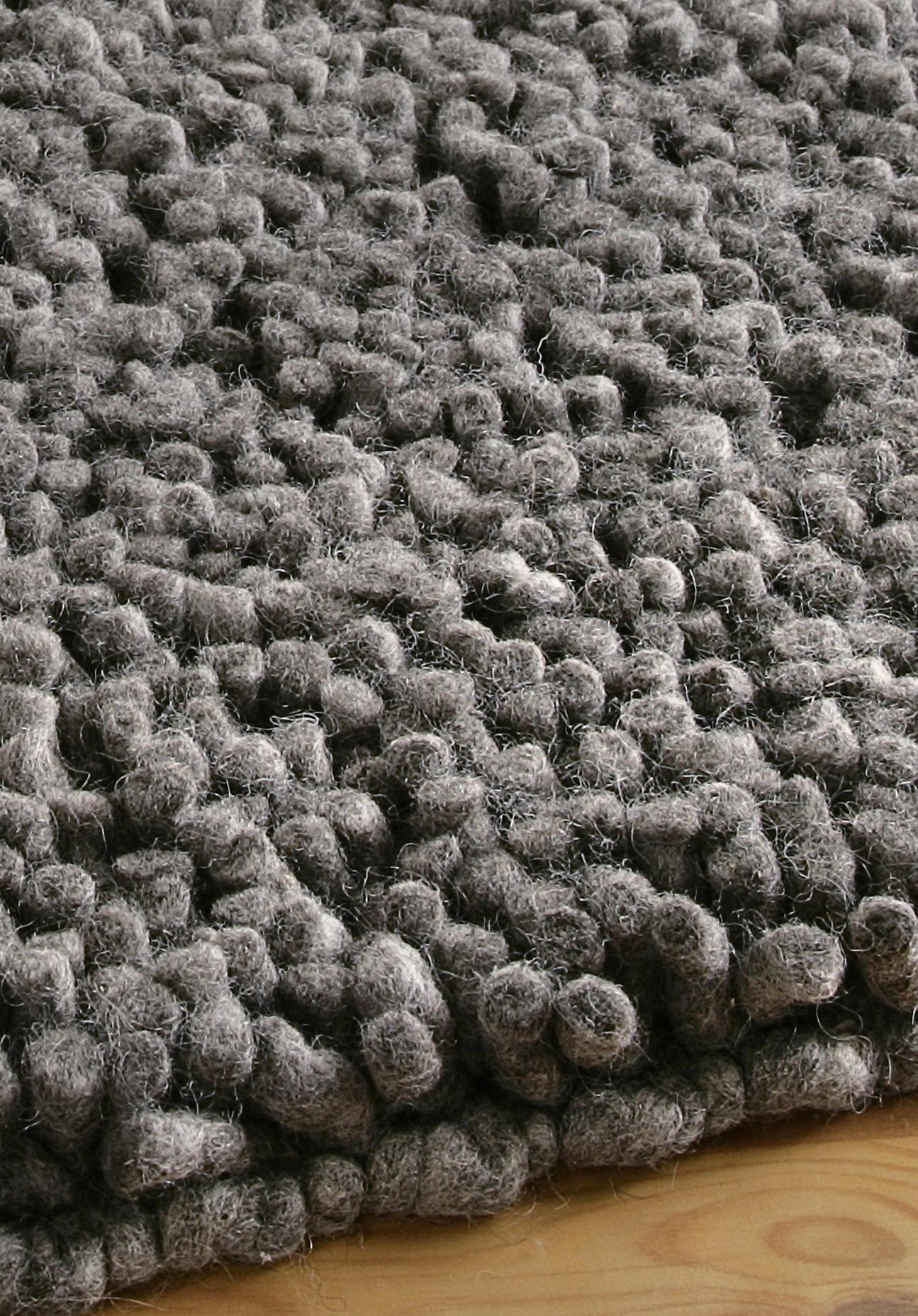 hessnatur Florteppich Rhönschaf aus Schurwolle – grau – Größe 70x140 cm