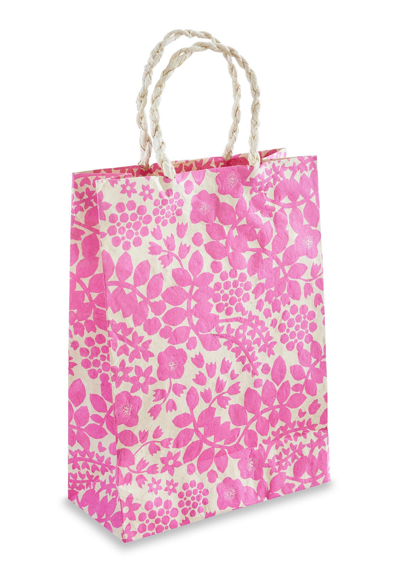 hessnatur Geschenktüte Leila aus handgeschöpftem Papier – rosa – Größe 30x22 cm
