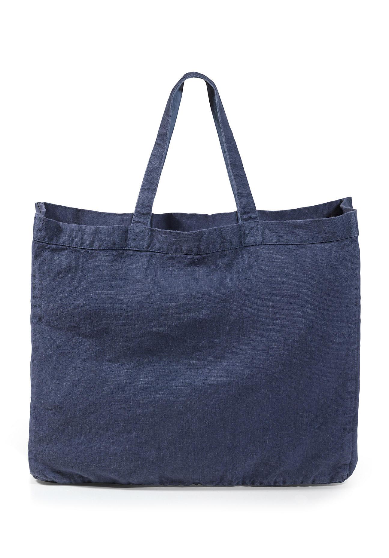 hessnatur Damen Große Tasche aus Hessenleinen – blau – Größe 1size