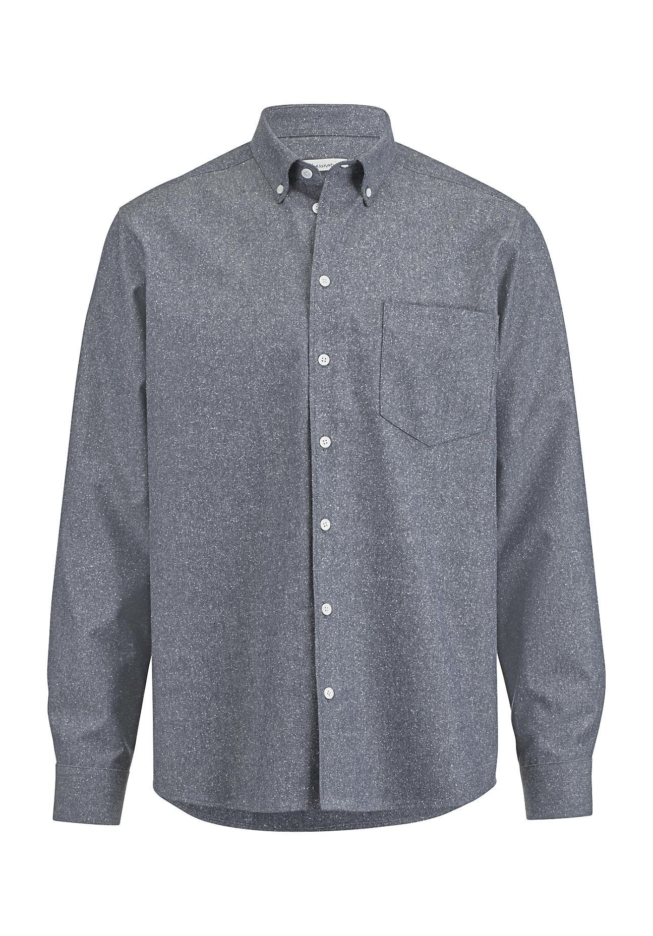 hessnatur Herren Hemd Comfort Fit aus Bio-Baumwolle und Seide – blau – Größe 39/40
