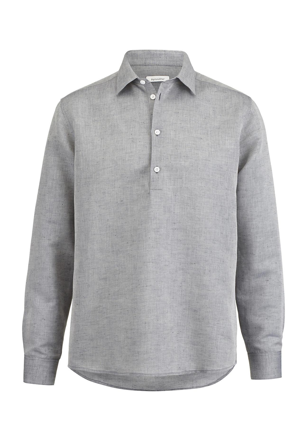 hessnatur Herren Hemd Comfort Fit aus Leinen mit Bio-Baumwolle – blau – Größe 37/38