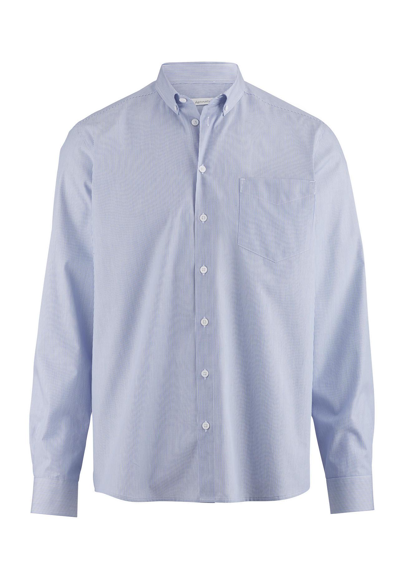 hessnatur Herren Hemd Comfort Fit aus Bio-Baumwolle – blau – Größe 43/44