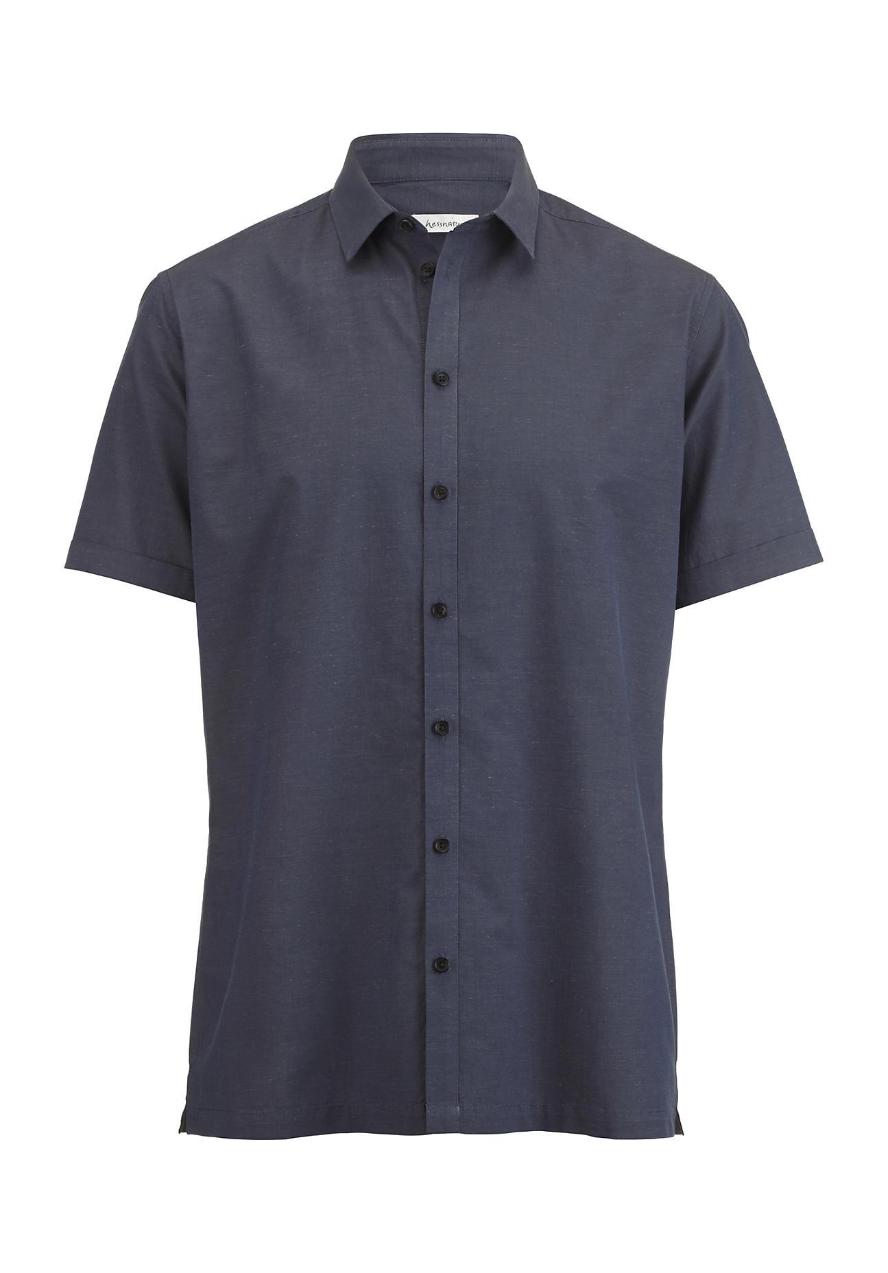 hessnatur Herren Hemd Modern Fit aus Bio-Baumwolle mit Hanf – blau – Größe 41/42