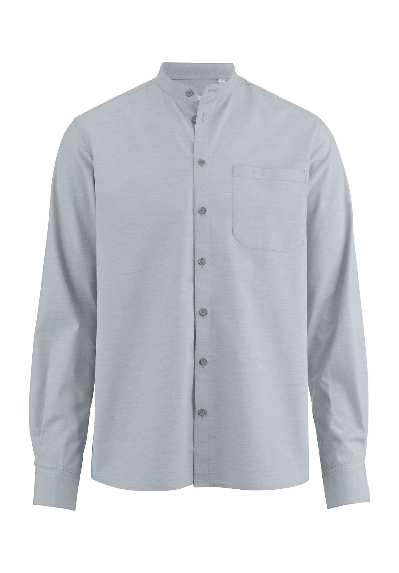 hessnatur Herren Hemd Modern Fit aus Bio-Baumwolle mit Hanf und Yak – grün – Größe 43/44
