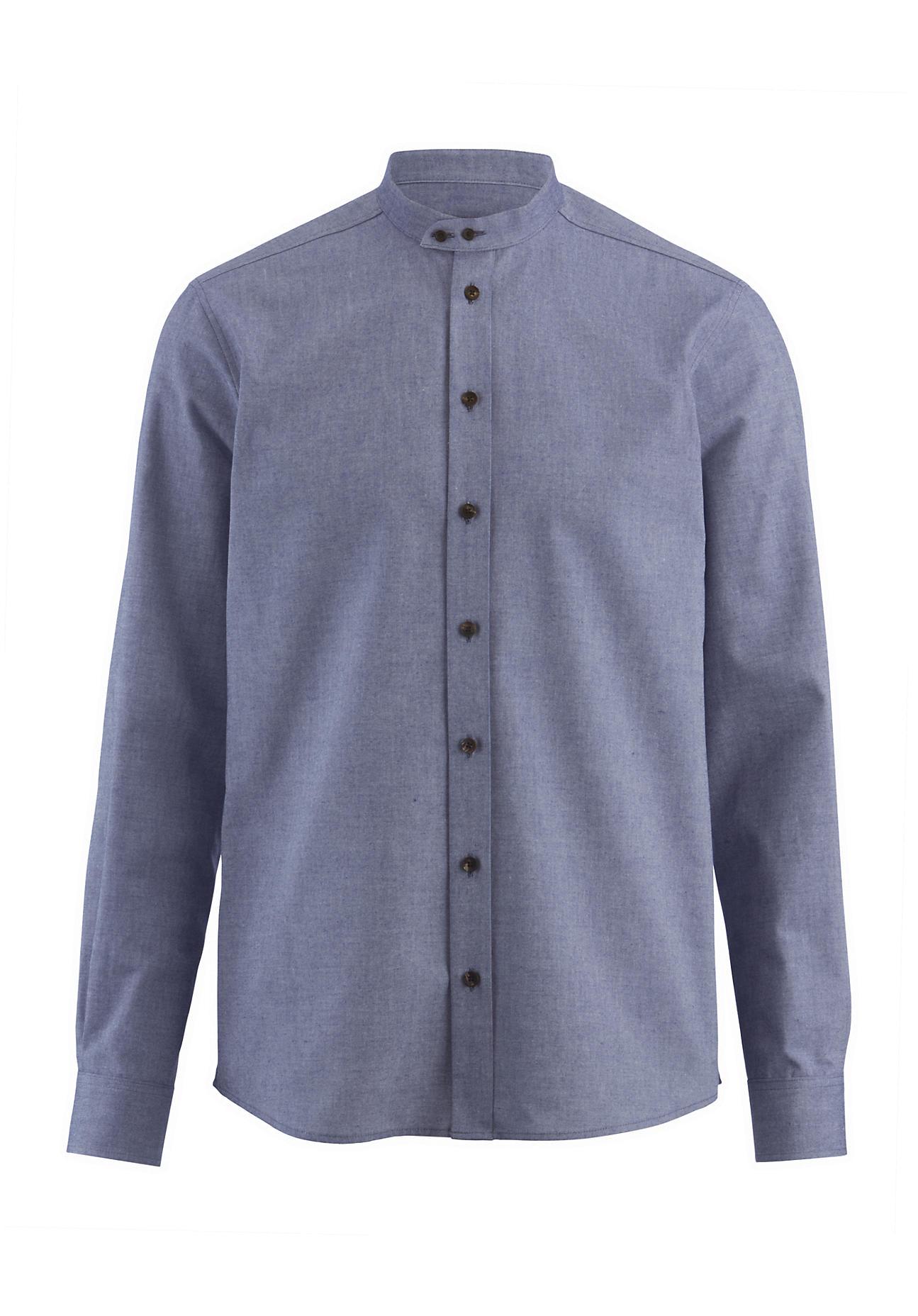 hessnatur Herren Hemd Modern Fit aus Bio-Baumwolle – blau – Größe 45/46