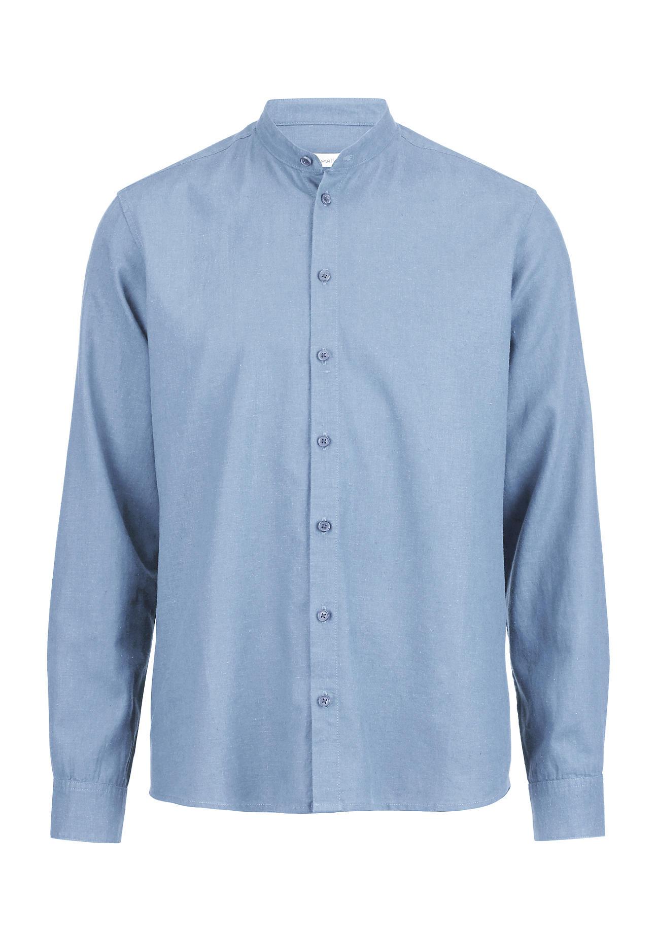 hessnatur Herren Hemd aus Manila mit Bio-Baumwolle – blau – Größe 37/38