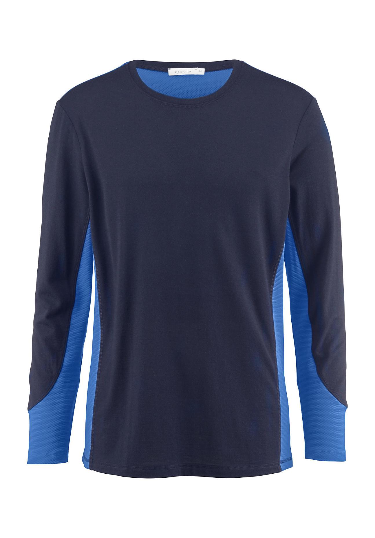 hessnatur Herren-Outdoor Herren Funktionsshirt aus Merinowolle – blau – Größe 52