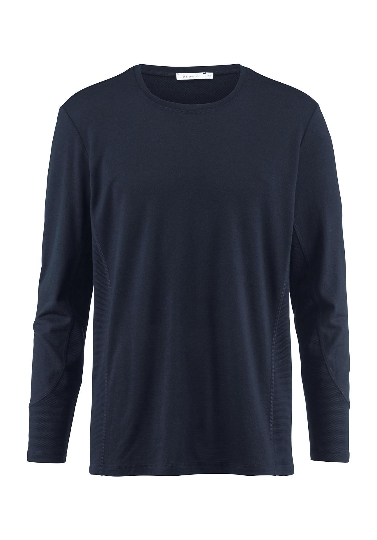 hessnatur Herren-Outdoor Herren Funktionsshirt aus Merinowolle – blau – Größe 56