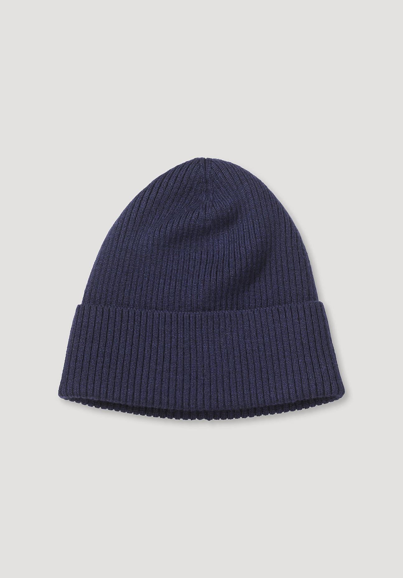 hessnatur Herren Mütze aus Merinowolle – blau – Größe 21,5x21,5 cm
