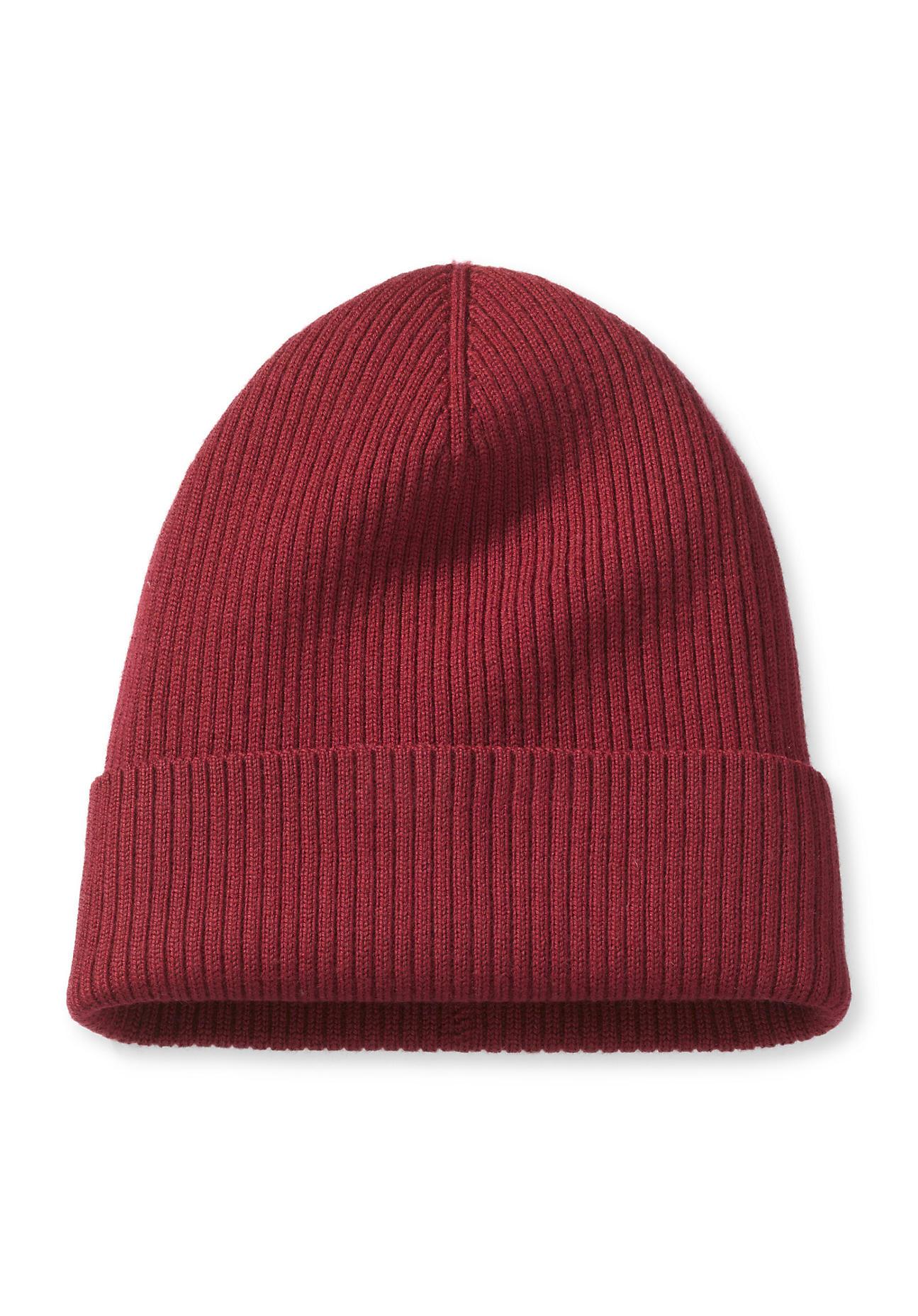 hessnatur Herren Mütze aus Merinowolle – rot – Größe 21,5x21,5 cm