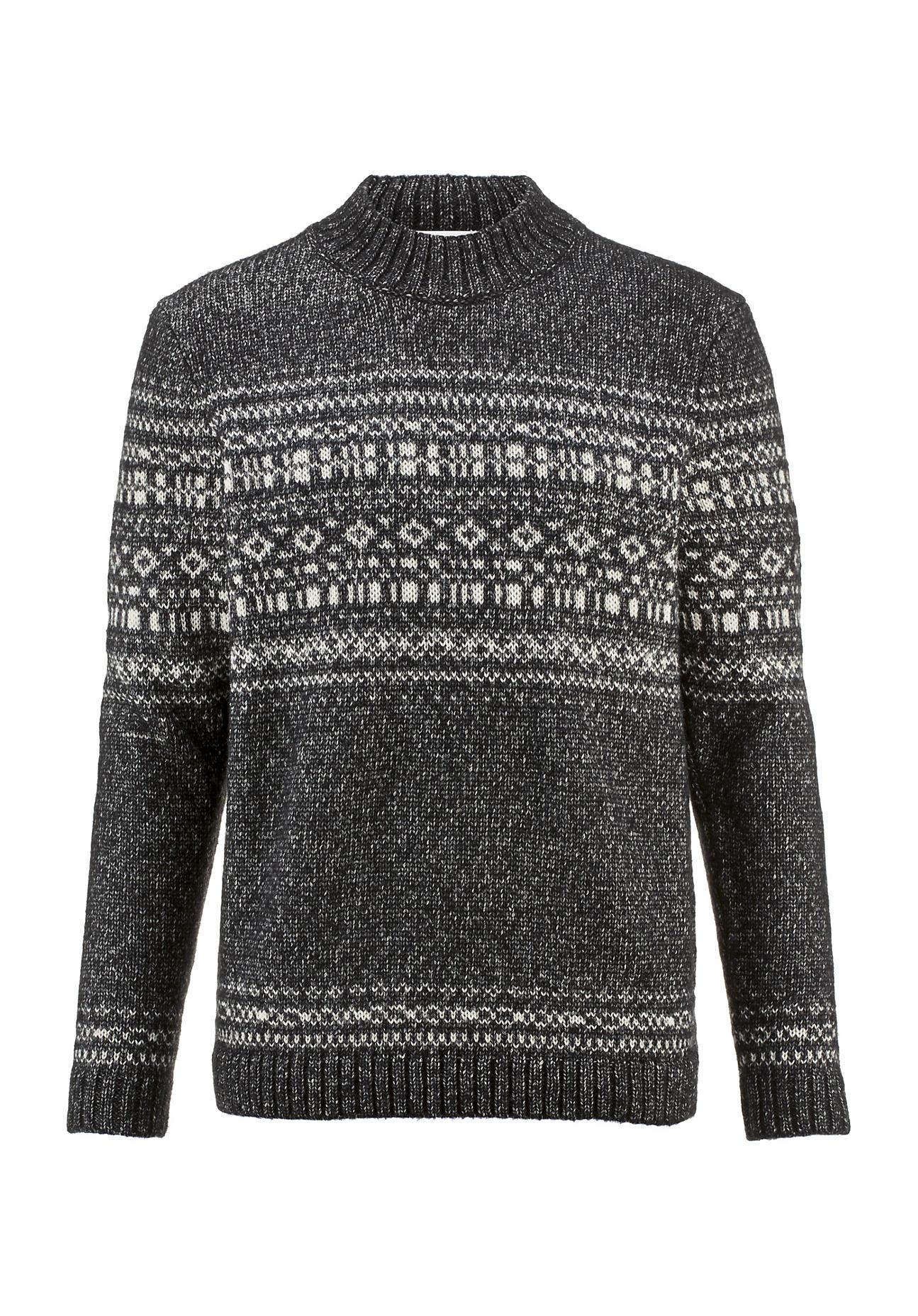 hessnatur Herren Norweger-Pullover aus Schurwolle mit Alpaka – schwarz – Größe 48 | Bekleidung > Pullover > Norwegerpullover | hessnatur