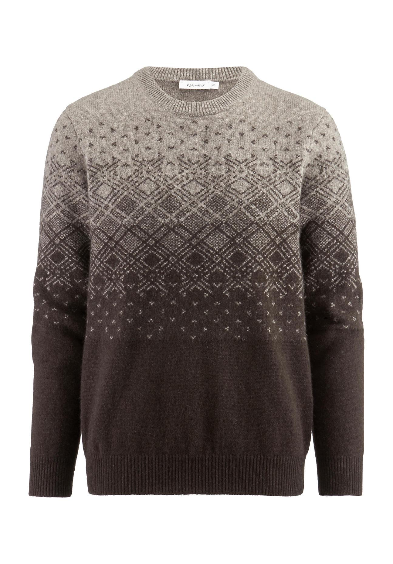 hessnatur Herren Norweger-Pullover aus Yakwolle – grau – Größe 48 | Bekleidung > Pullover > Norwegerpullover | hessnatur