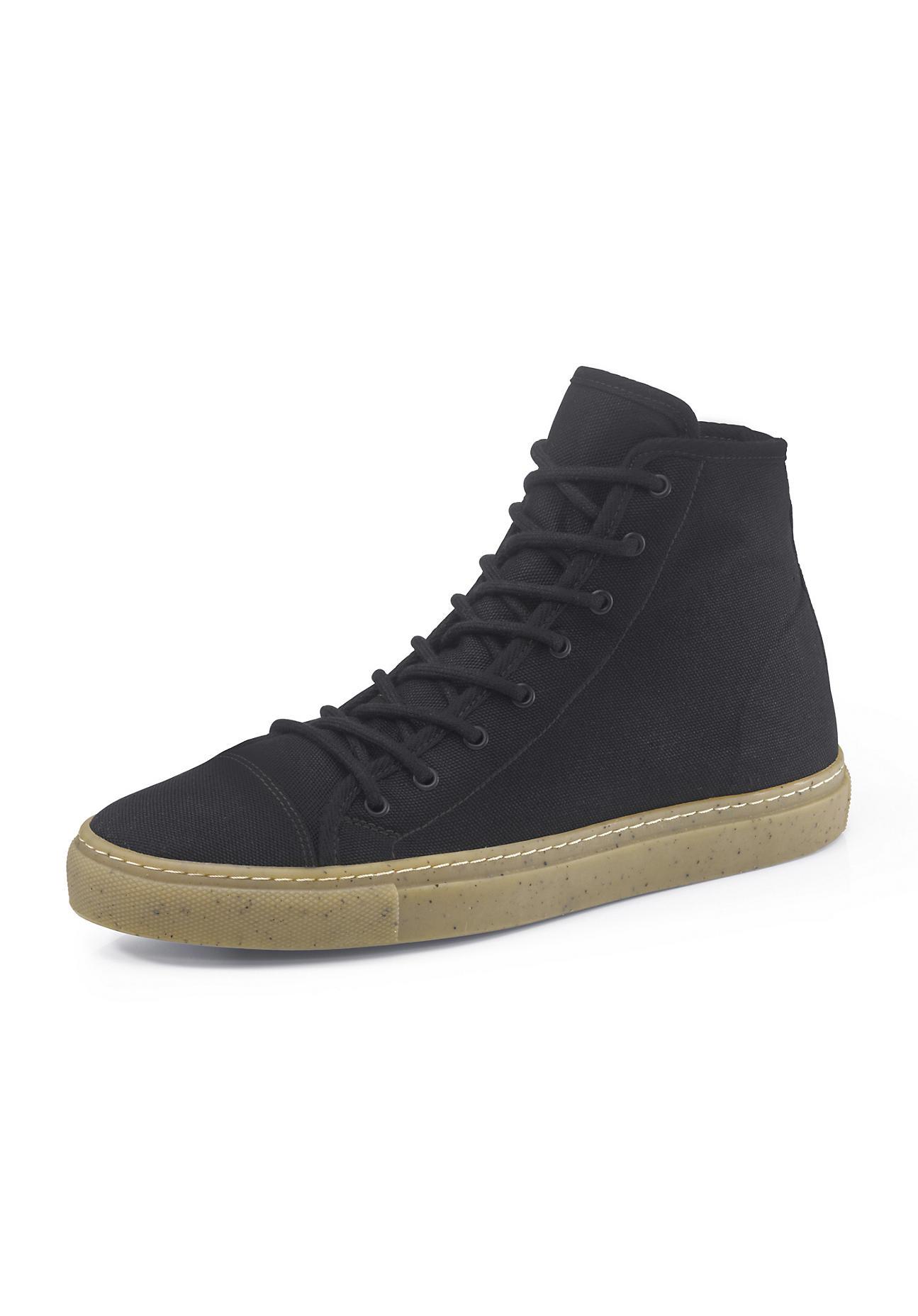 hessnatur Herren Herren Upcycling Sneaker aus Bio-Baumwolle und Naturkautschuk – schwarz – Größe 41