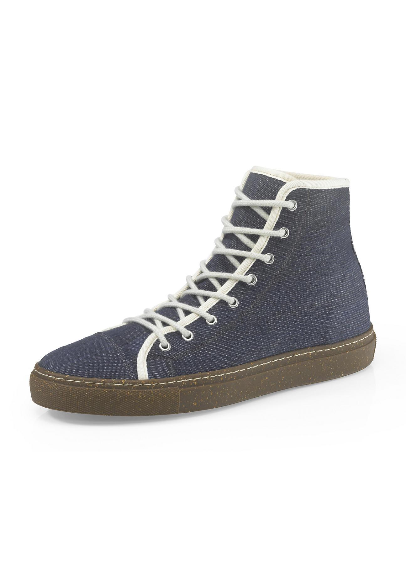 hessnatur Herren Herren Upcycling Sneaker aus Bio-Denim und Naturkautschuk – blau – Größe 41